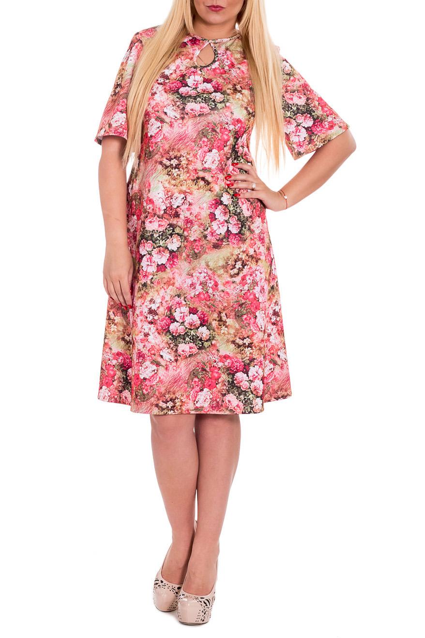 ПлатьеПлатья<br>Яркое платье трапециевидного силуэта - это дивный вариант на лето. Украшена модель цветочным рисунком.  Платье силуэта трапеция. На спинке средний шов. Горловина окантована с каплей на передней части изделия. Рукав втачной, короткий, расширен книзу.  Цвет: розовый, коралловый и др.  Длина рукава - 32 ± 1 см  Рост девушки-фотомодели 170 см  Длина изделия: 46 размер - 104 ± 2 см 48 размер - 104 ± 2 см 50 размер - 104 ± 2 см 52 размер - 104 ± 2 см 54 размер - 107 ± 2 см 56 размер - 107 ± 2 см 58 размер - 107 ± 2 см<br><br>Горловина: С- горловина<br>По длине: Ниже колена<br>По материалу: Трикотаж<br>По рисунку: Растительные мотивы,С принтом,Цветные,Цветочные<br>По силуэту: Свободные<br>По стилю: Летний стиль,Повседневный стиль,Романтический стиль<br>По форме: Платье - трапеция<br>По элементам: С декором<br>Рукав: Короткий рукав<br>По сезону: Лето,Осень,Весна<br>Размер : 48,50<br>Материал: Трикотаж<br>Количество в наличии: 3