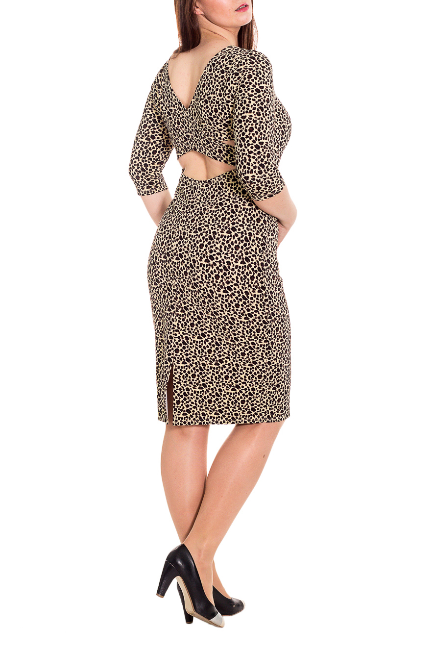ПлатьеПлатья<br>Ультрастильное женское платье с декоративными вставками на спинке изделия, которые добавят особого шарма в Ваш образ. В этом платье Вы очаруете любого  Платье приталенного силуэта. На спинке вырез с перекрещивающимися деталями. Рукав втачной,  3/4.  Цвет: леопардовые пятна.  Длина рукава - 40 ± 1 см  Рост девушки-фотомодели 180 см  Длина изделия - 105 ± 2 см<br><br>Горловина: С- горловина<br>По длине: Ниже колена<br>По материалу: Трикотаж<br>По образу: Город,Свидание<br>По рисунку: Животные мотивы,Леопард,С принтом,Цветные<br>По силуэту: Приталенные<br>По стилю: Нарядный стиль,Повседневный стиль,Ультрамодный стиль<br>По форме: Платье - футляр<br>По элементам: С декором,С открытой спиной<br>Рукав: Рукав три четверти<br>По сезону: Осень,Весна<br>Размер : 46<br>Материал: Трикотаж<br>Количество в наличии: 5