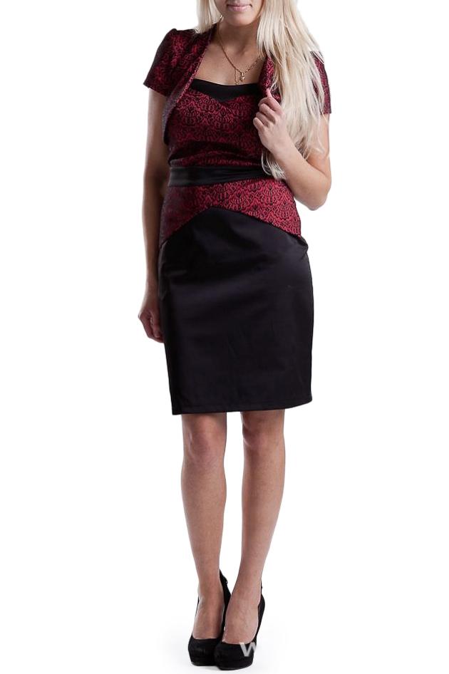 ПлатьеПлатья<br>Платье + болеро.  Платье - приталенного силуэта с отрезным поясом по талии. Лиф переда обработан обтачкой, спинка планкой с резинкой. По переду юбки отлетная баска, по спинке втачана в шов. Спинка со средним швом. Молния в среднем шве спинки.   Длина изделия (от верхнего края): 42 размер – 71 см 44 размер – 73 см 46 размер – 75 см 48 размер – 77 см  Болеро. Борта болеро скругленной формы обработаны обтачками. Рукав втачной, короткий, со сборкой по окату.   Длина рукава – 15 см  Длина изделия – 33 см<br><br>По рисунку: Цветные<br>По сезону: Весна,Всесезон,Зима,Лето,Осень<br>По элементам: С декором,С молнией,С открытой спиной,С открытыми плечами<br>По форме: Платье - футляр<br>По материалу: Атлас,Хлопок<br>Рукав: Без рукавов<br>По стилю: Нарядный стиль,Повседневный стиль<br>По длине: До колена<br>По силуэту: Приталенные<br>Размер : 42<br>Материал: Атлас<br>Количество в наличии: 1