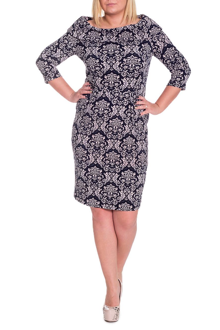 ПлатьеПлатья<br>Шикарное женское платье приталенного силуэта, отрезное по линии талии. Изделие выполнено из качественного трикотажа контрастной расцветки. Вытачки на передних и задних частях изделия обработаны наружу. Воротник хомут. Рукав втачной, 3/4.  Цвет: на темно-синем фоне бело-розовый рисунок.  Длина рукава - 45 ± 1 см  Рост девушки-фотомодели 170 см  Длина изделия - 97 ± 2 см<br><br>Горловина: Лодочка<br>По длине: До колена<br>По материалу: Трикотаж<br>По образу: Город,Свидание<br>По рисунку: С принтом,Цветные<br>По силуэту: Приталенные<br>По стилю: Повседневный стиль<br>По форме: Платье - футляр<br>Рукав: Рукав три четверти<br>По сезону: Осень,Весна<br>Размер : 50,52,54,56<br>Материал: Трикотаж<br>Количество в наличии: 23