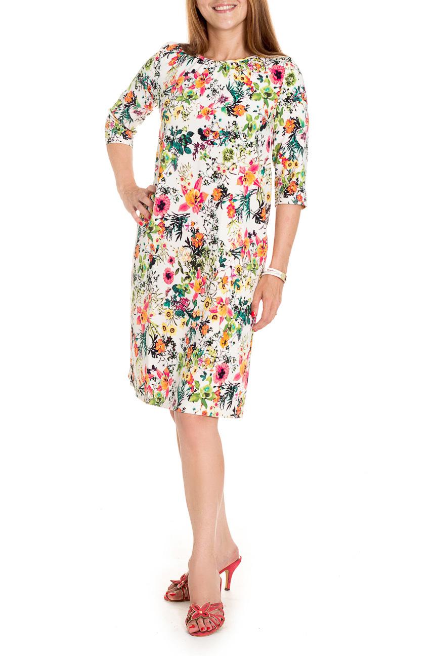 ПлатьеПлатья<br>Яркое платье трапеция - это дивный вариант на лето. Украшена модель контрастным цветочным рисунком.  Платье силуэта трапеция со сборкой по горловине. На спинке средний шов. Горловина окантована. Рукав втачной, 3/4.  Цвет: белый, зеленый и др.  Длина рукава - 40 ± 1 см  Рост девушки-фотомодели 174 см  Длина изделия: 44 размер - 99 ± 2 см 46 размер - 99 ± 2 см 48 размер - 99 ± 2 см 50 размер - 99 ± 2 см 52 размер - 102 ± 2 см 54 размер - 102 ± 2 см 56 размер - 102 ± 2 см<br><br>Горловина: С- горловина<br>По длине: До колена<br>По материалу: Тканевые<br>По рисунку: Растительные мотивы,С принтом,Цветные,Цветочные<br>По сезону: Весна,Лето,Осень<br>По силуэту: Свободные<br>По стилю: Летний стиль,Повседневный стиль<br>По форме: Платье - трапеция<br>Рукав: Рукав три четверти<br>Размер : 46<br>Материал: Плательная ткань<br>Количество в наличии: 2