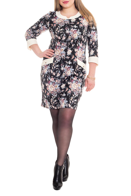 ПлатьеПлатья<br>Элегантное и женственное платье, которое великолепно подчеркивает все достоинства Вашей фигуры. На переде нагрудные вытачки и декоративные клапаны. На спинке средний шов. Горловина обработана обтачкой с разрезом. Рукав втачной, 3/4, с притачной фигурной манжетой.  В изделии использованы цвета: черный, голубой, розовый, белый и др.  Длина рукава - 48 ± 1 см  Рост девушки-фотомодели 170 см  Длина изделия - 100 ± 2 см<br><br>По длине: До колена<br>По материалу: Трикотаж<br>По образу: Город,Свидание<br>По рисунку: Растительные мотивы,С принтом,Цветные,Цветочные<br>По силуэту: Приталенные<br>По стилю: Повседневный стиль,Романтический стиль<br>По форме: Платье - футляр<br>По элементам: С декором,С манжетами,С отделочной фурнитурой,С разрезом<br>Разрез: Короткий<br>Рукав: Рукав три четверти<br>По сезону: Осень,Весна<br>Размер : 50,52<br>Материал: Трикотаж<br>Количество в наличии: 3