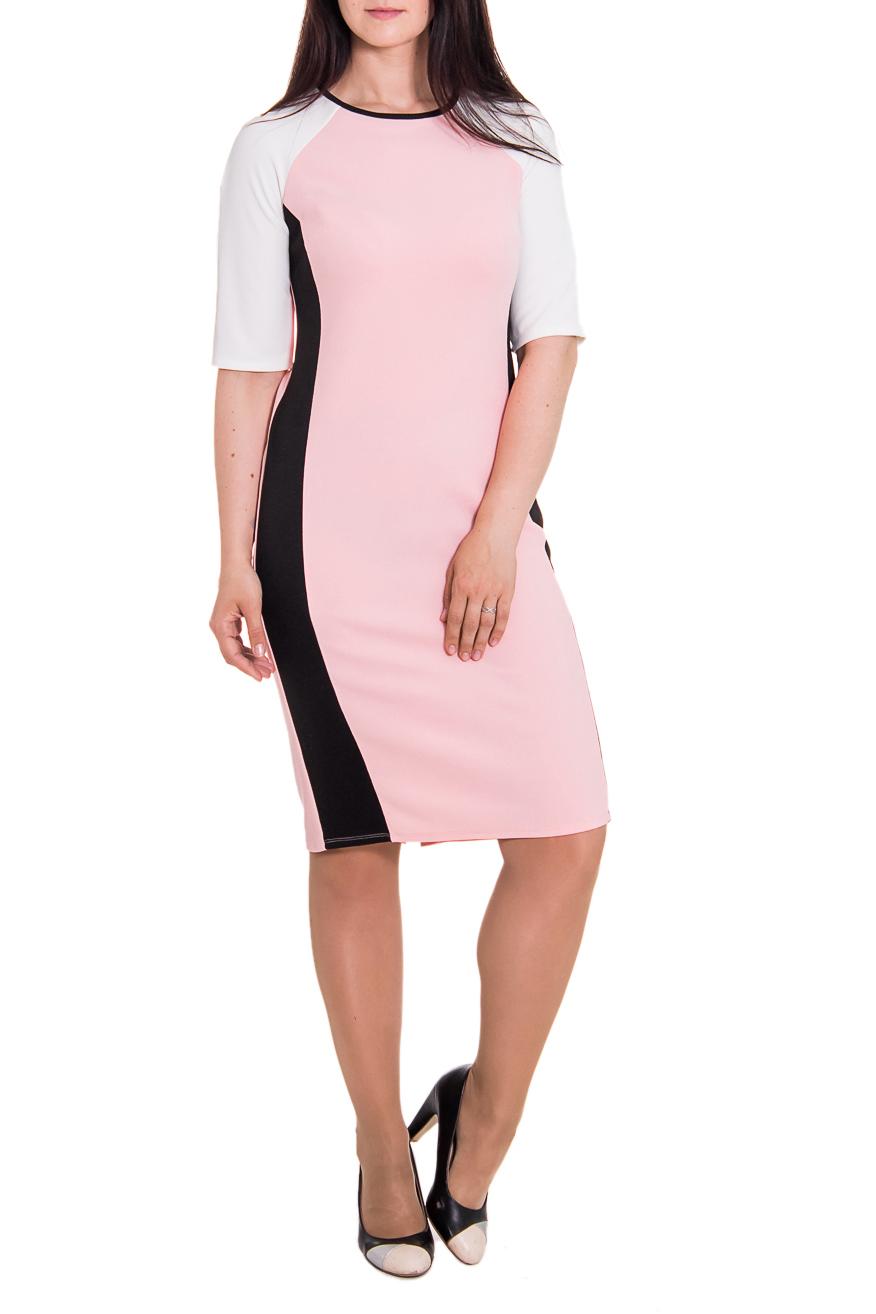 ПлатьеПлатья<br>Утонченное женское платье полуприлегающего силуэта с отрезными бочками и остаточной вытачкой на переде. На спинке средний шов и шлица. Горловина окантована. Рукав реглан, до локтя. Цвет: розовый, белый, черный.  Длина рукава - 32 ± 1 см  Рост девушки-фотомодели 180 см  Длина изделия: 44 размер - 102 ± 2 см 46 размер - 102 ± 2 см 48 размер - 102 ± 2 см 50 размер - 102 ± 2 см 52 размер - 106 ± 2 см 54 размер - 106 ± 2 см 56 размер - 106 ± 2 см<br><br>По образу: Офис,Свидание,Город<br>По стилю: Офисный стиль,Повседневный стиль,Классический стиль,Молодежный стиль<br>По материалу: Трикотаж<br>По рисунку: Цветные<br>По сезону: Осень,Весна<br>По силуэту: Полуприталенные<br>По элементам: С декором,С разрезом<br>По форме: Платье - футляр<br>По длине: Ниже колена<br>Рукав: До локтя<br>Горловина: С- горловина<br>Разрез: Шлица<br>Размер: 50,52,54,56,44,46,48<br>Материал: 100% полиэстер<br>Количество в наличии: 38