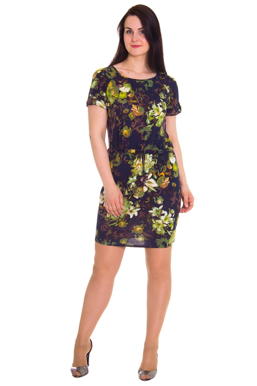 ПлатьеПлатья<br>Платье полуприлегающего силуэта, отрезное с кулиской чуть ниже линии талии. На спинке средний шов. Горловина окантована. Рукав реглан, короткий, с притачной манжетой и патой с пуговицей.  Цвет: черный, зеленый, коричневый  Длина рукава - 22 см  Длина изделия: 46 размер - 100 ± 1 см 48 размер - 100 ± 1 см 50 размер - 100 ± 1 см 52 размер - 100 ± 1 см 54 размер - 102 ± 1 см 56 размер - 102 ± 1 см 58 размер - 102 ± 1 см<br><br>По образу: Город,Свидание<br>По стилю: Молодежный стиль,Повседневный стиль<br>По материалу: Вискоза,Трикотаж<br>По рисунку: Цветные,Цветочные,Растительные мотивы<br>По сезону: Весна,Осень<br>По силуэту: Полуприталенные<br>По элементам: С поясом<br>По форме: Платье - футляр<br>По длине: До колена<br>Рукав: Короткий рукав<br>Горловина: С- горловина<br>Размер: 50,52,54,56,58,46,48<br>Материал: 95% вискоза 5% эластан<br>Количество в наличии: 5