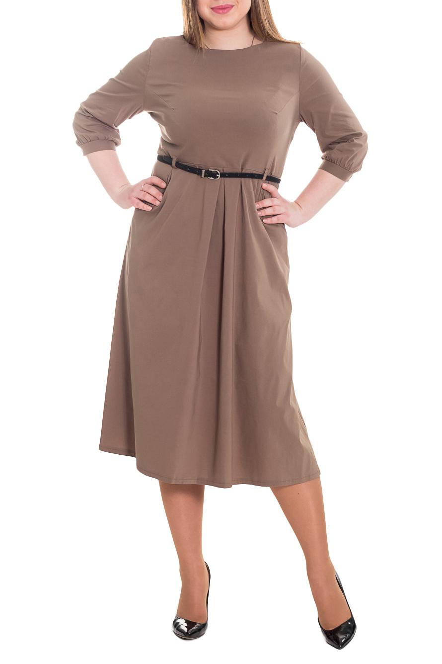 ПлатьеПлатья<br>Платье приталенного силуэта, отрезное по линии талии. Изделие имеет уникальную конструкцию с завышенной талией, что позволяет максимально эффектно украсить силуэт. На передней части юбки 2 складки, заложенные к центру, и карманы с отрезным бочком. На спинке средний шов с молнией. Горловина обработана обтачкой. Рукав втачной, 3/4, со сборкой и притачной манжетой по низу. Пояс в комплект не входит.  Цвет: хаки.  Длина рукава - 42 ± 1 см  Рост девушки-фотомодели 170 см  Длина изделия: 46 размер - 113 ± 2 см 48 размер - 113 ± 2 см 50 размер - 113 ± 2 см 52 размер - 113 ± 2 см 54 размер - 116 ± 2 см 56 размер - 116 ± 2 см 58 размер - 116 ± 2 см<br><br>Горловина: С- горловина<br>По материалу: Тканевые,Костюмные ткани<br>По образу: Город,Офис<br>По рисунку: Однотонные<br>По силуэту: Полуприталенные,Приталенные<br>По стилю: Классический стиль,Повседневный стиль,Офисный стиль<br>По элементам: С декором,С манжетами,С молнией,Со складками<br>Рукав: Рукав три четверти<br>По длине: Ниже колена<br>По форме: Платье - трапеция<br>По сезону: Осень,Весна<br>Размер : 46,48,50,52,54,56<br>Материал: Костюмно-плательная ткань<br>Количество в наличии: 13