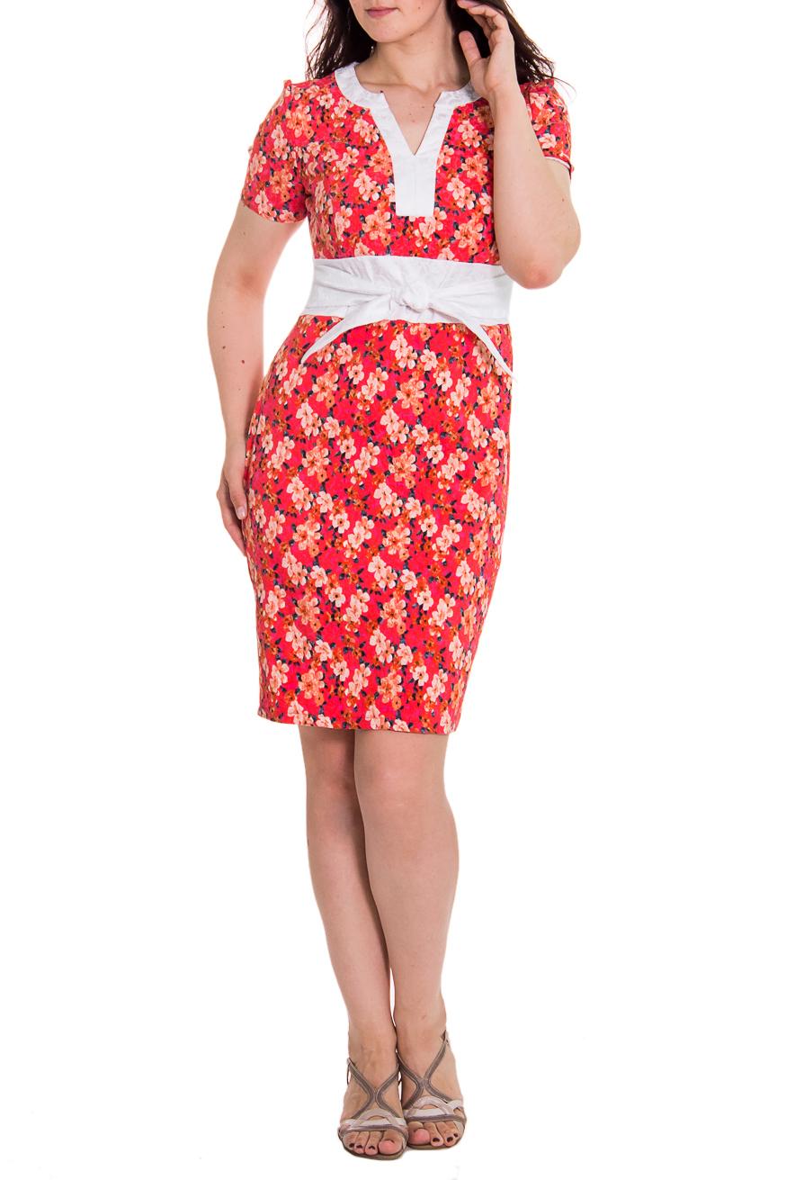 ПлатьеПлатья<br>Повседневно-нарядное платье приталенного силуэта с втачным поясом по талии. На передней части лифа рельефы. На спинке средний шов и шлица. Горловина обработана двойной обтачкой. В боковые швы пояса втачены отлетные детали, завязывающиеся на переде. Рукав втачной, короткий. Цвет: на красно-коралловом фоне оранжевые цветы.  Длина рукава - 21 ± 1 см  Рост девушки-фотомодели 180 см  Длина изделия: 46 размер - 100 ± 2 см 48 размер - 100 ± 2 см 50 размер - 100 ± 2 см 52 размер - 100 ± 2 см 54 размер - 102 ± 2 см 56 размер - 102 ± 2 см 58 размер - 102 ± 2 см<br><br>По материалу: Костюмные ткани,Тканевые,Хлопок<br>По образу: Город,Свидание<br>По рисунку: Растительные мотивы,Цветные,Цветочные<br>По сезону: Весна,Всесезон,Зима,Лето,Осень<br>По силуэту: Приталенные<br>По стилю: Летний стиль,Повседневный стиль<br>По форме: Платье - футляр<br>По элементам: С декором,С завышенной талией<br>Рукав: Короткий рукав<br>Горловина: Фигурная горловина<br>По длине: До колена<br>Размер : 50,54<br>Материал: Костюмно-плательная ткань<br>Количество в наличии: 3