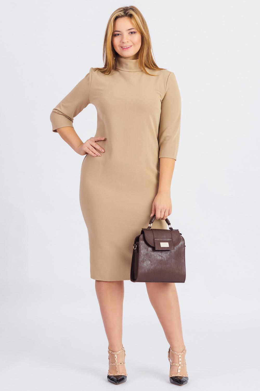 ПлатьеПлатья<br>Несмотря на скромность в дизайне, трикотажные платья-водолазки делают свою обладательницу неотразимой. Ведь плавные линии силуэта в таком образе наиболее акцентированы. Конечно, если в фигуре есть явные излишние округлости, то и такие недостатки облегающий фасон подчеркнет. Поэтому трикотажный предмет одежды идеально подходит стройным подтянутым модницам.  Платье полуприлегающего силуэта. На спинке средний шов и разрез. Воротник стойка.   Пояс и клатч в комплект не входят.  Цвет: бежевый  Длина рукава - 42 ± 1 см  Рост девушки-фотомодели 174 см  Длина изделия: 40 размер - 106 ± 2 см 42 размер - 106 ± 2 см 44 размер - 106 ± 2 см 46 размер - 106 ± 2 см 48 размер - 106 ± 2 см 50 размер - 108 ± 2 см 52 размер - 108 ± 2 см 54 размер - 108 ± 2 см 56 размер - 108 ± 2 см 58 размер - 108 ± 2 см  При создании образа, который Вы видите на фотографии, также был использован клатч арт. SMK0415. Для просмотра модели введите артикул в строке поиска.<br><br>Воротник: Стойка<br>По длине: Ниже колена<br>По материалу: Трикотаж<br>По рисунку: Однотонные<br>По силуэту: Полуприталенные<br>По стилю: Офисный стиль,Повседневный стиль,Классический стиль,Кэжуал<br>По форме: Платье - футляр,Платье - карандаш<br>По элементам: С разрезом,С воротником<br>Разрез: Короткий<br>Рукав: Рукав три четверти<br>По сезону: Осень,Весна<br>Размер : 42,44,46,50,52,54,56<br>Материал: Трикотаж<br>Количество в наличии: 7