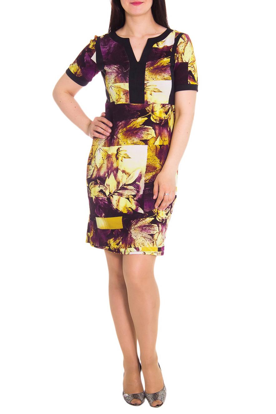 ПлатьеПлатья<br>Платье полуприлегающего силуэта, отрезное по линии талии. На передней части лифа рельефы. На спинке юбки средний шов и шлица. Горловина обработана двойной обтачкой, переходящей в планки. Рукав втачной, короткий.  Цвет: желтый, коричневый  Длина рукава - 26 см  Длина изделия: 46 размер - 100 ± 1 см 48 размер - 100 ± 1 см 50 размер - 100 ± 1 см 52 размер - 100 ± 1 см 54 размер - 103 ± 1 см 56 размер - 103 ± 1 см 58 размер - 103 ± 1 см<br><br>По образу: Город,Свидание<br>По рисунку: Цветные,С принтом<br>По сезону: Весна,Осень<br>По силуэту: Полуприталенные<br>Рукав: Короткий рукав<br>По форме: Платье - футляр<br>По материалу: Трикотаж,Хлопок<br>По стилю: Повседневный стиль<br>Горловина: Фигурная горловина<br>По длине: До колена<br>Размер : 50,52,54,58<br>Материал: Трикотаж<br>Количество в наличии: 10