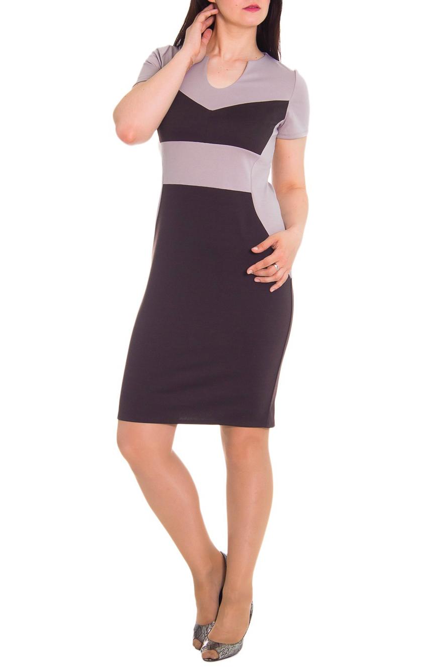 ПлатьеПлатья<br>Платье приталенного силуэта с фигурными резами на передней и задней частях изделия. На спинке юбки средний шов и разрез. Горловина обработана обтачкой. Рукав втачной, короткий.  Цвет: коричневый с бежевым.  Длина рукава - 21 см  Длина изделия - 106 см<br><br>По образу: Город,Свидание,Офис<br>По рисунку: Цветные<br>По сезону: Весна,Осень<br>Рукав: Короткий рукав<br>По форме: Платье - футляр<br>По материалу: Трикотаж<br>По стилю: Повседневный стиль,Классический стиль,Кэжуал,Офисный стиль<br>По длине: До колена<br>Горловина: Фигурная горловина<br>По силуэту: Приталенные<br>По элементам: С декором,С разрезом<br>Разрез: Короткий<br>Размер : 46,48,50,52,54,56,58<br>Материал: Джерси<br>Количество в наличии: 3