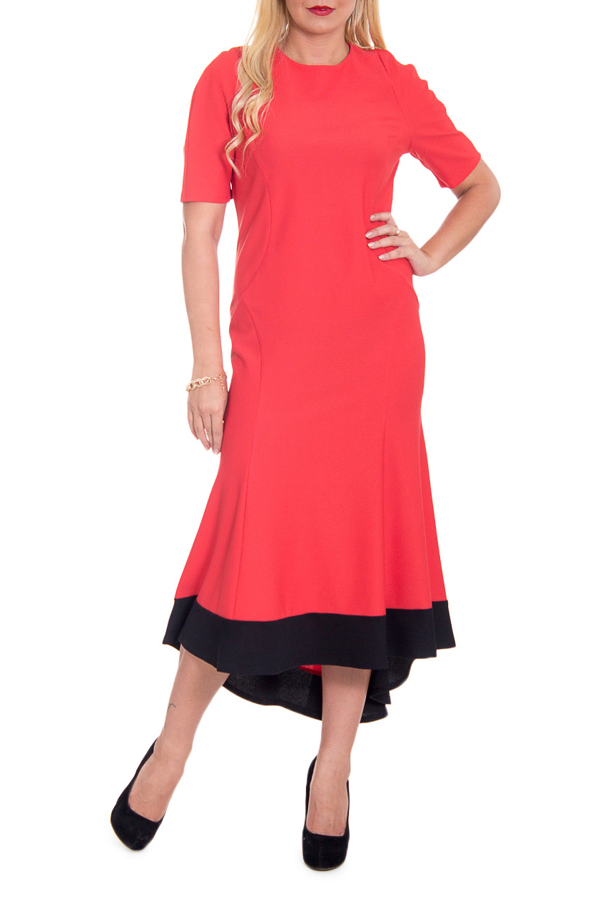 ПлатьеПлатья<br>Каждая современная женщина хочет выглядеть красиво и при этом не ощущать никакого дискомфорта.  Платья длиной миди - один из способов превратить эту мечту в реальность. Эти платья можно надевать по любому поводу. Такое платье стройнит, преображает фигуру, зрительно делает ее более пропорциональной и легкой.  Платье приталенного силуэта с асимметричным низом и планкой по низу. На передней части изделия фигурные рельефы. На спинке средний шов и молния. Горловина обработана обтачкой. Рукав полуреглан, до локтя.  Цвет: коралловый с черным.  Длина рукава (от конечной плечевой точки) - 28 ± 1 см  Рост девушки-фотомодели 170 см  Длина изделия по спинке - 130 ± 2 см<br><br>Горловина: С- горловина<br>По длине: Миди<br>По материалу: Трикотаж<br>По рисунку: Однотонные<br>По силуэту: Полуприталенные,Приталенные<br>По стилю: Нарядный стиль,Повседневный стиль<br>По элементам: С декором,С молнией,С фигурным низом,С воланами и рюшами<br>Рукав: До локтя<br>По сезону: Осень,Весна<br>По форме: Платье - годе<br>Размер : 48,50<br>Материал: Трикотаж<br>Количество в наличии: 9