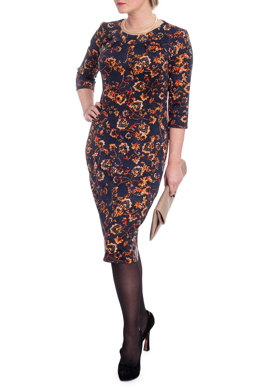 ПлатьеПлатья<br>Платье карандаш - классика женского гардероба Оставаясь эталоном женственности и стиля, эта модель актуальна и для повседневного гардероба, и для вечернего образа.  Платье приталенного силуэта. Округлая горловина на окантовке со складками, заложенными к центру. Рукав 3/4. Длина чуть ниже колена.  Цвет: на синем фоне оранжевый рисунок.  Длина рукава - 45 ± 1 см  Рост девушки-фотомодели 170 см  Длина изделия: 46 размер - 102 ± 2 см 48 размер - 104 ± 2 см 50 размер - 106 ± 2 см 52 размер - 108 ± 2 см 54 размер - 110 ± 2 см 56 размер - 112 ± 2 см 58 размер - 113 ± 2 см  При создании образа, который Вы видите на фотографии, также был использован стильный клатч арт. SMK0415. Для просмотра модели введите артикул в строке поиска.<br><br>Горловина: С- горловина<br>По длине: Ниже колена<br>По материалу: Трикотаж<br>По рисунку: Растительные мотивы,С принтом,Цветные,Цветочные<br>По силуэту: Приталенные<br>По стилю: Повседневный стиль<br>По форме: Платье - карандаш,Платье - футляр<br>Рукав: Рукав три четверти<br>По сезону: Осень,Весна<br>Размер : 48,50<br>Материал: Трикотаж<br>Количество в наличии: 8