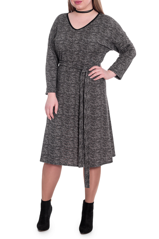 ПлатьеПлатья<br>Каким должно быть повседневное платье Таким, которое позволит выглядеть безупречно в любой ситуации.   Платье свободного кроя со съемным поясом. На спинке средний шов. Горловина V-образная, окантована. Рукав рубашечный, 3/4, со спущенной линией плеча и манжетой на отворот.  Цвет: черно-серый.  Длина рукава (от конечной плечевой точки) - 43 ± 1 см  Рост девушки-фотомодели 170 см  Длина изделия - 106 ± 2 см<br><br>Горловина: V- горловина<br>По длине: Ниже колена<br>По материалу: Трикотаж<br>По рисунку: Однотонные<br>По силуэту: Свободные<br>По стилю: Классический стиль,Кэжуал,Офисный стиль,Повседневный стиль<br>По форме: Платье - трапеция<br>По элементам: С вырезом,С манжетами,С поясом<br>Рукав: Длинный рукав<br>По сезону: Осень,Весна<br>Размер : 48,50,52,54,56,58<br>Материал: Трикотаж<br>Количество в наличии: 39