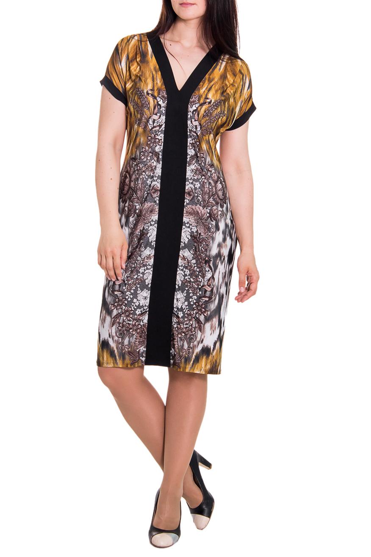 ПлатьеПлатья<br>Платье свободного кроя со складками по плечам, заложенными от центра. На спинке средний шов. Горловина обработана обтачкой, переходящей в планки на переде. Рукав цельновыкроенный, короткий, с притачной манжетой. Цвет: коричневый, черный, белый.  Длина рукава - 13 ± 1 см  Рост девушки-фотомодели 180 см  Длина изделия - 103 ± 2 см<br><br>Горловина: V- горловина<br>По образу: Город<br>По рисунку: Абстракция,Цветные,С принтом<br>По сезону: Лето<br>По силуэту: Полуприталенные<br>Рукав: Короткий рукав<br>По материалу: Трикотаж<br>По стилю: Повседневный стиль<br>По длине: До колена<br>По форме: Платье - футляр<br>Размер : 48,50<br>Материал: Холодное масло<br>Количество в наличии: 10