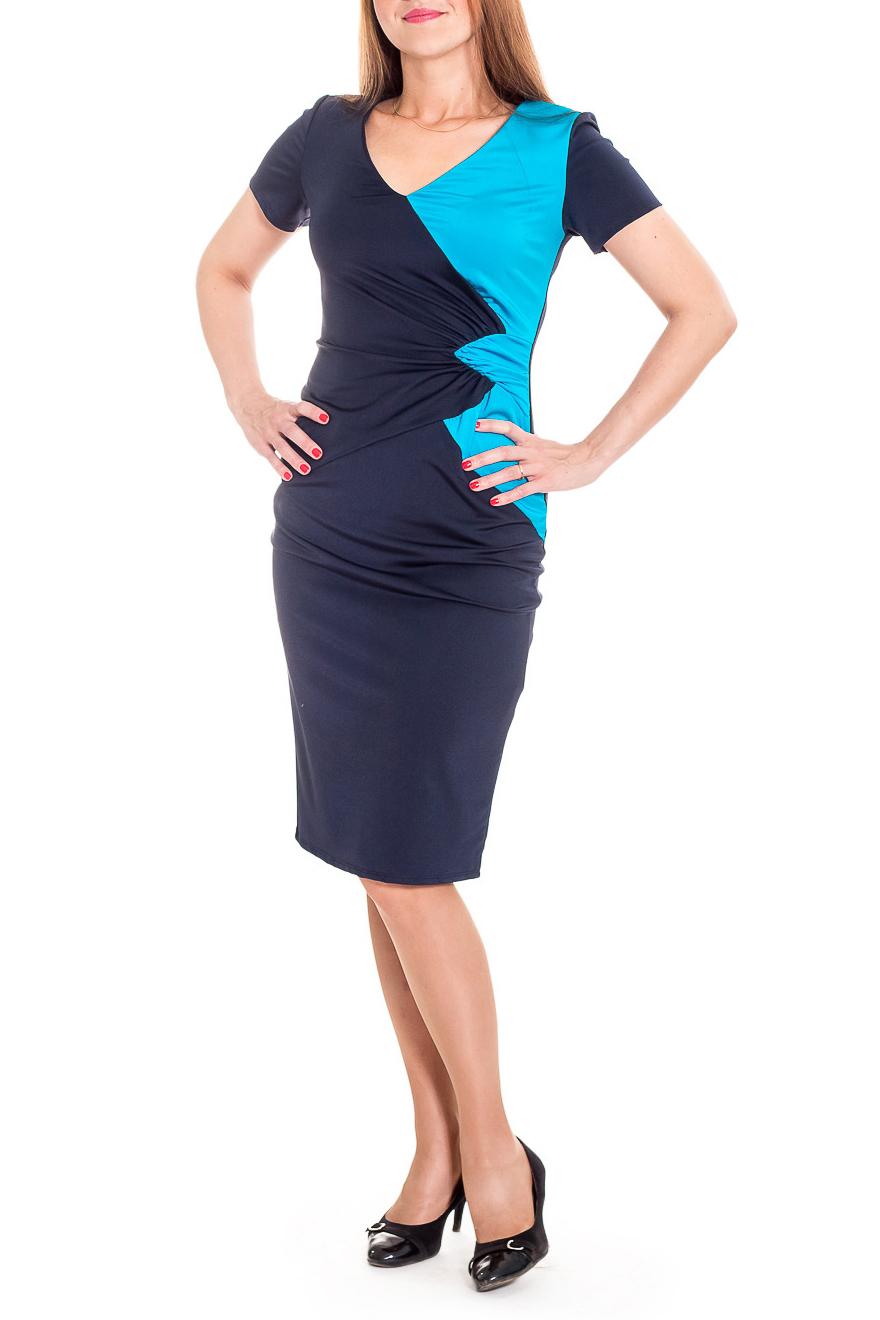 ПлатьеПлатья<br>Платье с контрастными цветами всегда на пике моды. В нем Вы будете всегда в центре внимания.  Платье приталенного силуэта. На передней части изделия резы со сборкой. На спинке средний шов и шлица. Горловина обработана обтачкой. Рукав втачной, короткий.  Цвет: синий, голубой  Длина рукава - 18 ± 1 см  Рост девушки-фотомодели 174 см  Длина изделия: 46 размер - 105 ± 2 см 48 размер - 105 ± 2 см 50 размер - 105 ± 2 см 52 размер - 105 ± 2 см 54 размер - 108 ± 2 см 56 размер - 108 ± 2 см 58 размер - 108 ± 2 см<br><br>Горловина: V- горловина<br>По длине: Ниже колена<br>По материалу: Трикотаж<br>По рисунку: Цветные<br>По сезону: Лето,Осень,Весна<br>По силуэту: Приталенные<br>По стилю: Повседневный стиль<br>По форме: Платье - футляр<br>По элементам: С декором,С разрезом,Со складками<br>Разрез: Шлица<br>Рукав: Короткий рукав<br>Размер : 48,50<br>Материал: Трикотаж<br>Количество в наличии: 10