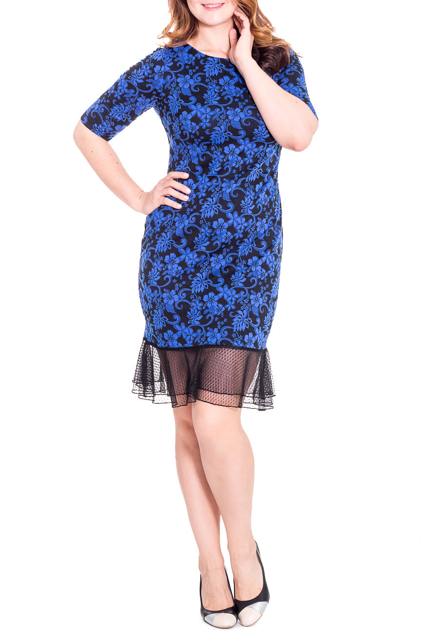 ПлатьеПлатья<br>Нарядное женское платье приталенного силуэта с двойным воланом из гипюровой сетки по низу изделия. На спинке средний шов. Горловина обработана обтачкой. Рукав втачной, до локтя. Цвет: синий, черный  Длина рукава - 35 ± 1 см  Длина изделия: 46 размер - 105 ± 2 см 48 размер - 105 ± 2 см 50 размер - 105 ± 2 см 52 размер - 105 ± 2 см 54 размер - 108 ± 2 см 56 размер - 108 ± 2 см 58 размер - 108 ± 2 см  Рост девушки-фотомодели 180 см  Изделие незначительно маломерит.<br><br>По образу: Выход в свет,Свидание<br>По стилю: Нарядный стиль<br>По материалу: Шифон,Гипюровая сетка,Жаккард,Трикотаж<br>По рисунку: Фактурный рисунок,Абстракция,Цветные<br>По сезону: Осень,Весна,Всесезон,Зима,Лето<br>По силуэту: Полуприталенные<br>По элементам: С декором,С фигурным низом,Со складками,С воланами и рюшами<br>По форме: Платье - футляр<br>По длине: Ниже колена<br>Рукав: До локтя<br>Горловина: С- горловина<br>Размер: 50,52,54,56,58,46,48<br>Материал: 50% хлопок 45% полиэстер 5% эластан<br>Количество в наличии: 10