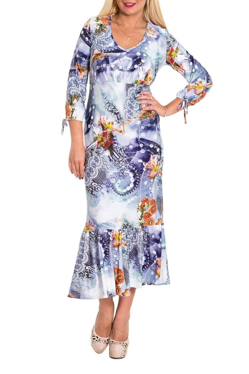 ПлатьеПлатья<br>Цветное платье из приятного трикотажа с этническим принтом. Отличный выбор для повседневного гардероба.  Платье полуприлегающего силуэта, отрезное под грудью, с широким воланом по низу. На спинке средний шов. Горловина окантована. Рукав втачной, 3/4, со сборкой по низу и декоративным бантом.  В изделии использованы цвета: белый, сиреневый, голубой и др.  Длина рукава - 48 ± 1 см  Рост девушки-фотомодели 170 см  Длина изделия - 120 ± 2 см<br><br>По длине: Миди,Ниже колена<br>По материалу: Трикотаж<br>По рисунку: Абстракция,С принтом,Цветные<br>По сезону: Весна,Осень,Лето<br>По силуэту: Полуприталенные<br>По стилю: Летний стиль,Повседневный стиль<br>По элементам: С воланами и рюшами,С декором,С завязками,С фигурным низом<br>Рукав: Рукав три четверти<br>Горловина: V- горловина<br>По форме: Платье - футляр<br>Размер : 48,50<br>Материал: Трикотаж<br>Количество в наличии: 3