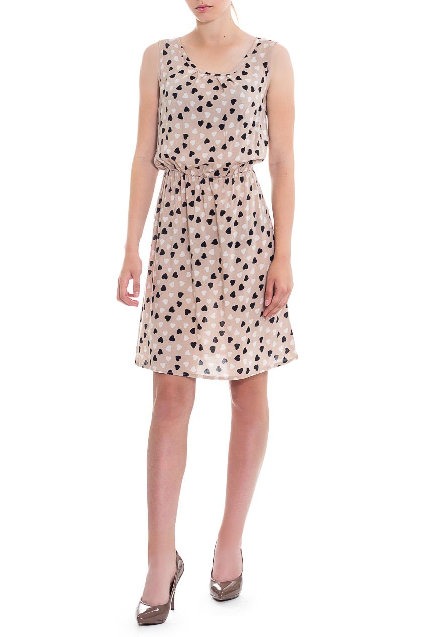 ПлатьеСарафаны<br>Очаровательное платье с оригинальным принтом и женственным силуэтом. В наших платьях Вы будете выглядеть очаровательно на протяжении всего дня.  Платье полуприлегающего силуэта, отрезное по линии талии с резинкой. На спинке средний шов. Горловина и проймы окантованы.  В изделии использованы цвета: бежевый, черный, белый и др.  Рост девушки-фотомодели 165 см  Длина изделия - 90 ± 2 см<br><br>Бретели: Широкие бретели<br>Горловина: С- горловина<br>По длине: До колена<br>По материалу: Вискоза<br>По рисунку: С принтом,Цветные<br>По силуэту: Полуприталенные<br>По стилю: Летний стиль,Молодежный стиль,Повседневный стиль,Романтический стиль<br>По элементам: С декором,С резинкой<br>Рукав: Без рукавов<br>По сезону: Лето<br>Размер : 44,46,48,50,52<br>Материал: Плательно-блузочная ткань<br>Количество в наличии: 11