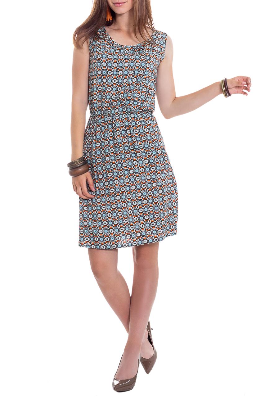 ПлатьеСарафаны<br>Очаровательное платье с оригинальным принтом и женственным силуэтом. В наших платьях Вы будете выглядеть очаровательно на протяжении всего дня.  Платье полуприлегающего силуэта, отрезное по линии талии с резинкой. На спинке средний шов. Горловина и проймы окантованы.  В изделии использованы цвета: коричневый, голубой, оранжевый и др.  Рост девушки-фотомодели 165 см  Длина изделия - 90 ± 2 см<br><br>Бретели: Широкие бретели<br>Горловина: С- горловина<br>По длине: До колена<br>По материалу: Вискоза<br>По рисунку: Абстракция,С принтом,Цветные,Этнические<br>По силуэту: Полуприталенные<br>По стилю: Летний стиль,Молодежный стиль,Повседневный стиль,Романтический стиль<br>По элементам: С декором,С резинкой<br>Рукав: Без рукавов<br>По сезону: Лето<br>Размер : 42<br>Материал: Плательно-блузочная ткань<br>Количество в наличии: 1