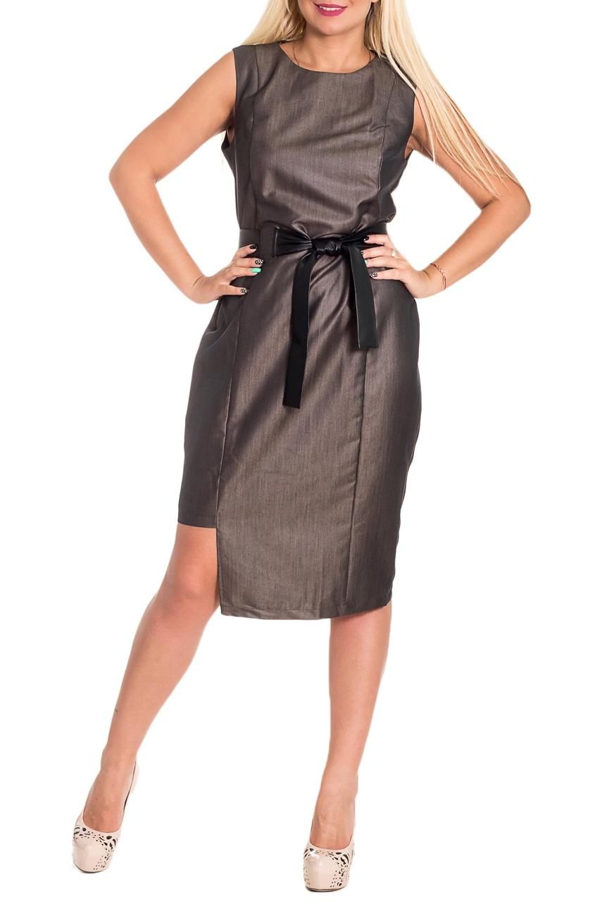 ПлатьеПлатья<br>Женственное платье с асимметричным низом станет изюминкой Вашего гардероба. Побалуйте себя этой великолепной покупкой  Платье приталенного силуэта силуэта с асимметричным низом и поясом. На передней части изделия рельефы. На спинке средний шов с молнией и талиевые выточки. Горловина и проймы обработаны обтачками.  Цвет: при близком расмотрении материал выполнен в мелкий черно-бежевый зигзаг.  Рост девушки-фотомодели 170 см  Длина изделия: 44 размер - 104 ± 2 см 46 размер - 104 ± 2 см 48 размер - 104 ± 2 см 50 размер - 104 ± 2 см 52 размер - 106 ± 2 см 54 размер - 106 ± 2 см 56 размер - 106 ± 2 см<br><br>Горловина: С- горловина<br>По длине: До колена,Ниже колена<br>По материалу: Костюмные ткани,Тканевые<br>По рисунку: Однотонные<br>По сезону: Весна,Зима,Лето,Осень,Всесезон<br>По силуэту: Приталенные<br>По стилю: Кэжуал,Повседневный стиль,Ультрамодный стиль<br>По форме: Платье - карандаш,Платье - футляр<br>По элементам: С декором,С кожаными вставками,С молнией,С поясом,С разрезом,С фигурным низом<br>Разрез: Длинный<br>Рукав: Без рукавов<br>Размер : 46,48,50,52,54,56<br>Материал: Костюмная ткань + Искусственная кожа<br>Количество в наличии: 18