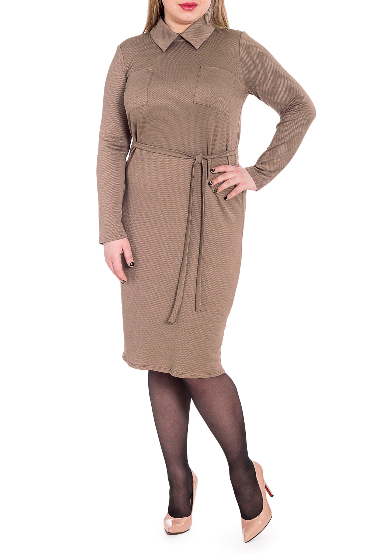 ПлатьеПлатья<br>Классика и элегантность - это залог успеха для создания Вашего повседневного образа. Дополните это стильное платье модными аксессуарами и завершите образ успешной женщины   Платье полуприлегающего силуэта с накладными карманами на передней части изделия. Съемный пояс. На спинке средний шов с разрезом и молнией. Воротник стояче-отложной. Рукав втачной, длинный.  Цвет: коричневый.  Длина рукава - 61 ± 1 см  Рост девушки-фотомодели 174 см  Длина изделия: 46 размер - 105 ± 2 см 48 размер - 105 ± 2 см 50 размер - 105 ± 2 см 52 размер - 105 ± 2 см 54 размер - 107 ± 2 см 56 размер - 107 ± 2 см 58 размер - 107 ± 2 см<br><br>Воротник: Рубашечный,Стояче-отложной<br>По длине: Ниже колена<br>По материалу: Трикотаж<br>По образу: Город,Офис<br>По рисунку: Однотонные<br>По силуэту: Полуприталенные<br>По стилю: Классический стиль,Кэжуал,Офисный стиль,Повседневный стиль<br>По форме: Платье - футляр<br>По элементам: С воротником,С декором,С карманами,С молнией,С поясом,С разрезом<br>Разрез: Короткий<br>Рукав: Длинный рукав<br>По сезону: Осень,Весна<br>Размер : 48,50,52,54,56,58<br>Материал: Трикотаж<br>Количество в наличии: 23