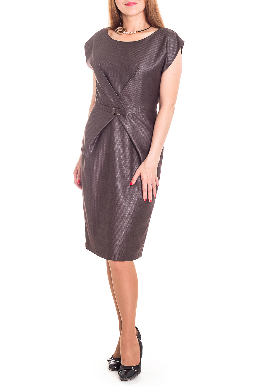 ПлатьеПлатья<br>Чудесное платье приталенного силуэта, отрезное по линии талии. На передней части изделия складки, заложенные друг на друга и декоративный ремешок с пряжкой. На спинке средний шов с молнией и разрезом. Горловина обработана обтачкой. Рукав цельнокроенный, короткий.   Цвет: темно-коричневый в бежевый рубчик  Длина рукава - 13 ± 1 см  Рост девушки-фотомодели 174 см  Длина изделия: 44 размер - 102 ± 2 см 46 размер - 102 ± 2 см 48 размер - 102 ± 2 см 50 размер - 102 ± 2 см 52 размер - 102 ± 2 см 54 размер - 105 ± 2 см 56 размер - 105 ± 2 см 58 размер - 105 ± 2 см<br><br>Горловина: С- горловина<br>По длине: Ниже колена<br>По материалу: Тканевые<br>По образу: Город,Офис,Свидание<br>По рисунку: Однотонные<br>По силуэту: Полуприталенные<br>По стилю: Офисный стиль,Повседневный стиль<br>По форме: Платье - футляр<br>По элементам: С декором,С отделочной фурнитурой,Со складками,С разрезом<br>Рукав: Короткий рукав<br>Разрез: Короткий<br>По сезону: Осень,Весна<br>Размер : 48,50,52,56,58<br>Материал: Костюмная ткань<br>Количество в наличии: 13