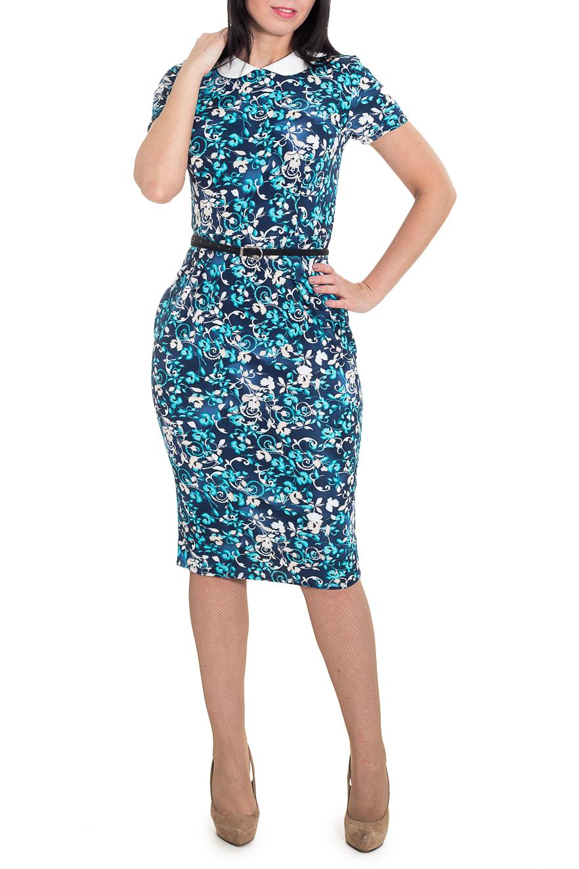 ПлатьеПлатья<br>Классическое женственное платье приталенного силуэта, отрезное по линии талии. На передней части изделия заложены складки. На задней части юбки средний шов и шлица. Отложной воротник с капелькой на спинке и застежкой на пуговицу. Рукав втачной, короткий. Пояс в комплект не входит.  Цвет: синий, голубой, бежевый и др.  Длина рукава - 19 ± 1 см  Рост девушки-фотомодели 180 см  Длина изделия: 44 размер - 106 ± 2 см 46 размер - 106 ± 2 см 48 размер - 106 ± 2 см 50 размер - 106 ± 2 см 52 размер - 108 ± 2 см 54 размер - 108 ± 2 см 56 размер - 108 ± 2 см<br><br>Воротник: Отложной<br>По длине: Ниже колена<br>По материалу: Трикотаж<br>По образу: Город,Свидание<br>По рисунку: Растительные мотивы,С принтом,Цветные<br>По силуэту: Приталенные<br>По стилю: Летний стиль,Повседневный стиль<br>По форме: Платье - футляр<br>По элементам: С воротником,С декором,С разрезом<br>Разрез: Шлица<br>Рукав: Короткий рукав<br>По сезону: Лето,Осень,Весна<br>Размер : 46,48,50<br>Материал: Трикотаж<br>Количество в наличии: 7