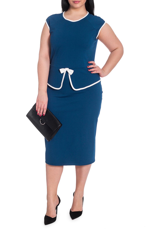 ПлатьеПлатья<br>Успех женщины в карьере во многом зависит от одежды, которую она носит. Поэтому, если вы хотите стать успешной, советуем приобрести это эксклюзивное платье..  Утонченное женское платье приталенного силуэта, отрезное по линии талии. Рельефы и баска на передней части изделия. Декоративный бант. На спинке средний шов и разрез. Горловина, низ рукава, и баска окантованы. Рукав реглан, крылышко.  Цвет: синий.  Рост девушки-фотомодели 164 см  Длина изделия - 105 ± 2 см  При создании образа, который Вы видите на фотографии, также была использована стильная сумка арт. SMK10516. Для просмотра модели введите артикул в строке поиска.<br><br>Горловина: С- горловина<br>По длине: Ниже колена<br>По материалу: Трикотаж<br>По рисунку: Однотонные<br>По силуэту: Приталенные<br>По стилю: Классический стиль,Офисный стиль,Повседневный стиль<br>По форме: Платье - футляр<br>По элементам: С баской,С декором,С разрезом<br>Разрез: Короткий<br>Рукав: Короткий рукав<br>По сезону: Лето<br>Размер : 52,58<br>Материал: Трикотаж<br>Количество в наличии: 15