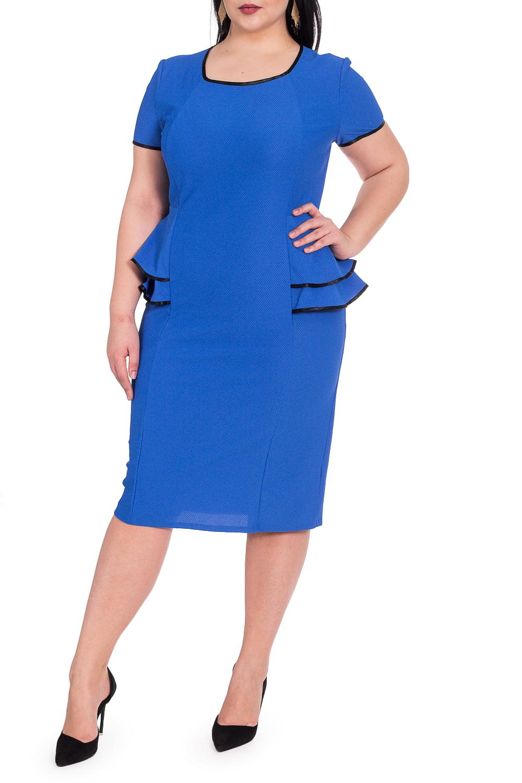 ПлатьеПлатья<br>Женственное платье приталенного силуэта с двойной баской по линии талии. Рельефы на передней части изделия. На спинке средний шов и шлица. Горловина, низ рукава и низ баски окантованы. Рукав втачной, короткий.  Цвет: синий.  Длина рукава - 20 ± 1 см  Рост девушки-фотомодели 164 см  Длина изделия: 46 размер - 102 ± 2 см 48 размер - 102 ± 2 см 50 размер - 102 ± 2 см 52 размер - 102 ± 2 см 54 размер - 106 ± 2 см 56 размер - 106 ± 2 см 58 размер - 106 ± 2 см<br><br>Горловина: Квадратная горловина<br>По длине: Ниже колена<br>По материалу: Трикотаж<br>По рисунку: Однотонные<br>По силуэту: Приталенные<br>По стилю: Классический стиль,Офисный стиль,Повседневный стиль<br>По форме: Платье - футляр<br>По элементам: С бахромой,С воланами и рюшами,С декором,С разрезом<br>Разрез: Шлица<br>Рукав: Короткий рукав<br>По сезону: Осень,Весна<br>Размер : 52,56<br>Материал: Трикотаж<br>Количество в наличии: 5