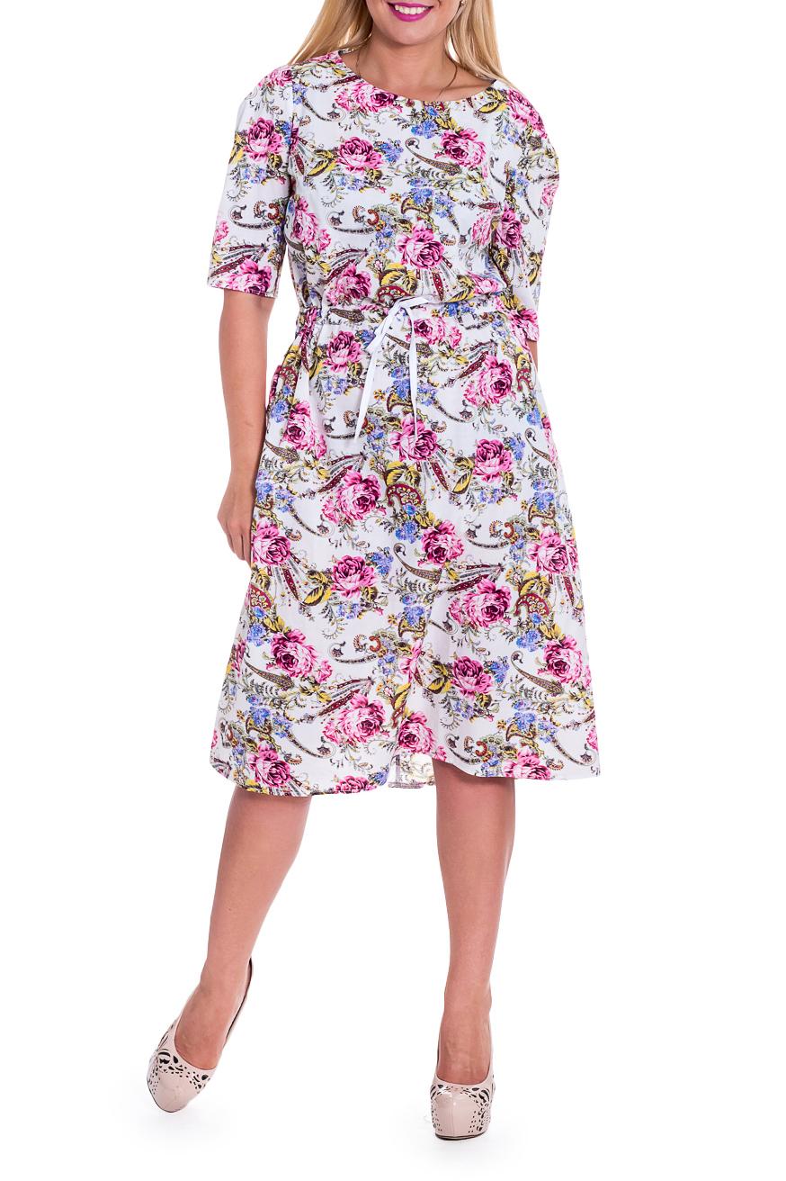 ПлатьеПлатья<br>Это прелестное платье станет изумительным вариантом повседневного или выходного наряда. Цветочный принт украсит любую леди. Изумительно садясь по фигуре, это изделие маскирует ее проблемные зоны.  Платье приталенного силуэта с кулиской по талии. На спинке средний шов. Горловина обработана обтачкой. Рукав втачной, до локтя, с зауженной линией плеча и встречной складкой по окату.  В изделии использованы цвета: розовый, белый и др.  Длина рукава - 33 ± 1 см  Рост девушки-фотомодели 170 см  Длина изделия - 114 ± 2 см<br><br>Горловина: С- горловина<br>По длине: Ниже колена<br>По материалу: Хлопок<br>По образу: Город,Свидание<br>По рисунку: Растительные мотивы,С принтом,Цветные,Цветочные<br>По сезону: Весна,Лето<br>По силуэту: Полуприталенные,Приталенные<br>По стилю: Летний стиль,Повседневный стиль,Романтический стиль<br>По форме: Платье - трапеция<br>Рукав: До локтя<br>Размер : 48,50,52,54,56,58<br>Материал: Хлопок<br>Количество в наличии: 27