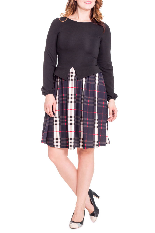 ПлатьеПлатья<br>Замечательное женское платье приталенного силуэта, отрезное по линии талии. Фигурная баска, юбка со сборкой. На спинке средний шов. Горловина обработана обтачкой. Рукав втачной, длинный, со сборкой по низу. Цвет: черный, синий, белый, красный.  Длина рукава - 64 ± 1 см  Рост девушки-фотомодели 180 см  Длина изделия - 95 ± 2 см<br><br>По материалу: Трикотаж,Хлопок<br>По рисунку: Цветные,С принтом,В клетку<br>По сезону: Зима<br>По силуэту: Полуприталенные,Приталенные<br>По стилю: Повседневный стиль<br>По элементам: С баской,С декором,Со складками<br>Рукав: Длинный рукав<br>Горловина: Лодочка<br>По длине: До колена<br>По форме: Платье - трапеция<br>Размер : 46<br>Материал: Джерси<br>Количество в наличии: 2