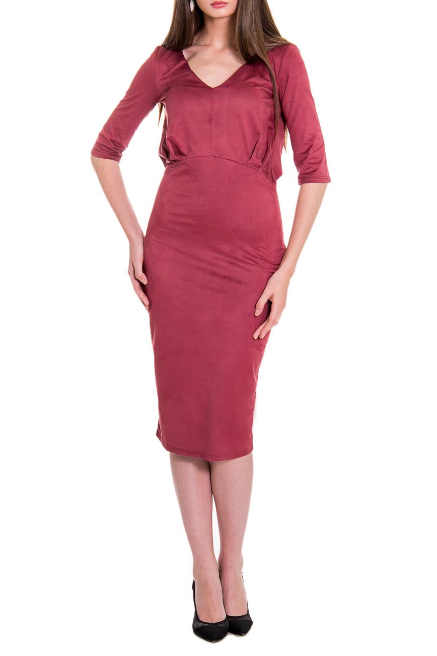 ПлатьеПлатья<br>Очаровательное женское платье из приятной мягкой замши, подчеркивающее фигуру и акцентирующее внимание на женственности и элегантности. В нашем платье Вы, безусловно, сможете отправиться как на работу, так и на романтичную встречу.  Платье приталенного силуэта с фигурным резом по талии. На передней части лифа средний шов и складки, заложенные от центра. На спинке лифа складки, заложенные от центра. Горловина обработана обтачкой. Рукав втачной, до локтя. Цвет: красно-кирпичный.  Длина рукава - 35 ± 1 см  Рост девушки-фотомодели 168 см  Длина изделия - 106 ± 2 см<br><br>Горловина: V- горловина<br>По длине: Ниже колена<br>По материалу: Трикотаж<br>По образу: Город,Свидание<br>По рисунку: Однотонные<br>По сезону: Весна,Зима,Осень<br>По силуэту: Приталенные<br>По стилю: Классический стиль,Повседневный стиль<br>По форме: Платье - карандаш<br>По элементам: С вырезом,С завышенной талией,Со складками<br>Рукав: До локтя<br>Размер : 50<br>Материал: Трикотаж<br>Количество в наличии: 1