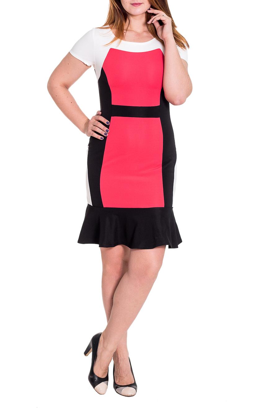 ПлатьеПлатья<br>Элегантное женское платье приталенного силуэта с с кокетками на передней и задней частях изделия. На переде рельефы, втачной пояс и вставки. На спинке средний шов и вставки. По низу изделия волан. Рукав втачной, короткий. Цвет: черный, белый, коралловый.  Длина рукава - 20 ± 1 см  Рост девушки-фотомодели 180 см  Длина изделия: 46 размер - 100 ± 2 см 48 размер - 100 ± 2 см 50 размер - 100 ± 2 см 52 размер - 100 ± 2 см 54 размер - 103 ± 2 см 56 размер - 103 ± 2 см 58 размер - 103 ± 2 см<br><br>Горловина: С- горловина<br>По длине: До колена<br>По материалу: Трикотаж<br>По образу: Город,Свидание<br>По рисунку: Цветные<br>По сезону: Весна,Лето,Осень<br>По силуэту: Приталенные<br>По форме: Платье - футляр<br>По элементам: С фигурным низом,С воланами и рюшами<br>Рукав: Короткий рукав<br>Размер : 46,48,50,52,54,56,58<br>Материал: Трикотаж<br>Количество в наличии: 28