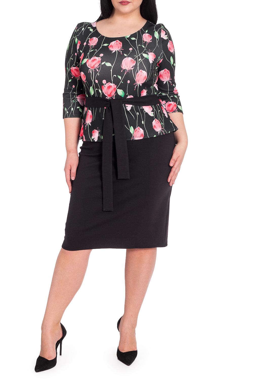ПлатьеПлатья<br>Изумительное и женственное платье, которое подойдет любому типу фигуры, выполненное из приятного телу трикотажа.  Женское платье приталенного силуэта, отрезное по линии талии, с баской. На лифе нагрудные вытачки. По талии съемный пояс и шлевки. Рукав втачной, 3/4.  В изделии использованы цвета: черный, красно-розовый и др.  Длина рукава - 42 ± 1 см  Рост девушки-фотомодели 164 см  Длина изделия - 102 ± 2 см<br><br>Горловина: С- горловина<br>По длине: Ниже колена<br>По материалу: Трикотаж<br>По рисунку: Растительные мотивы,С принтом,Цветные,Цветочные<br>По силуэту: Приталенные<br>По стилю: Повседневный стиль<br>По форме: Платье - футляр<br>По элементам: С баской,С поясом<br>Рукав: Рукав три четверти<br>По сезону: Осень,Весна<br>Размер : 54<br>Материал: Трикотаж<br>Количество в наличии: 3
