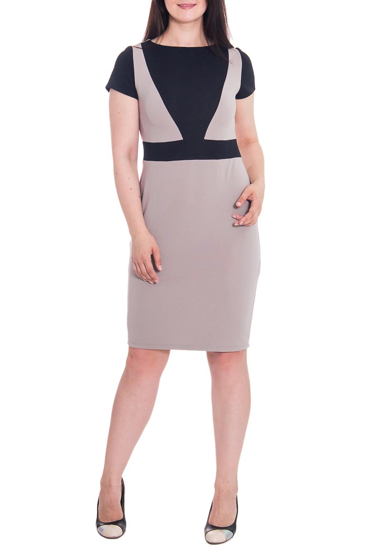 ПлатьеПлатья<br>Классическое женское платье приталенного силуэта с втачным поясом по талии. На передней части лифа вставка. На спинке юбки средний шов и шлица. Горловина обработана обтачкой. Рукав втачной, короткий. Цвет: бежевый и черный.  Длина рукава - 17 ± 1 см  Рост девушки-фотомодели 180 см  Длина изделия: 46 размер - 104 ± 2 см 48 размер - 104 ± 2 см 50 размер - 104 ± 2 см 52 размер - 104 ± 2 см 54 размер - 108 ± 2 см 56 размер - 108 ± 2 см 58 размер - 108 ± 2 см<br><br>По длине: Ниже колена<br>По материалу: Трикотаж<br>По рисунку: Цветные<br>По сезону: Весна,Осень<br>По силуэту: Приталенные<br>По стилю: Классический стиль,Офисный стиль,Повседневный стиль<br>По форме: Платье - футляр<br>По элементам: С декором,С разрезом<br>Разрез: Шлица<br>Рукав: Короткий рукав<br>Горловина: С- горловина<br>Размер : 56<br>Материал: Трикотаж<br>Количество в наличии: 1