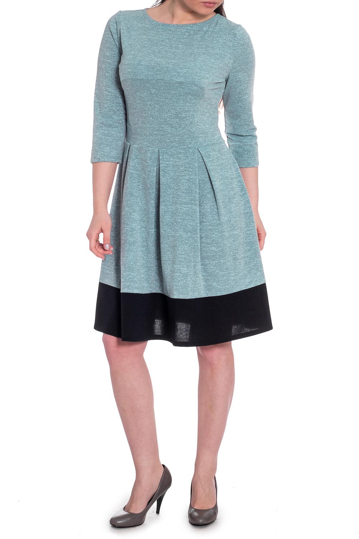 ПлатьеПлатья<br>Повседневное платье позволит выглядеть безупречно в любой ситуации. В наших платьях Вы будете выглядеть очаровательно на протяжении всего дня.  Прелестное женское платье приталенного силуэта с расширенной к низу юбкой. Платье отрезное по линии талии с втачным поясом. Рукав втачной 3/4. Конструктивно-декоративное решение изделия – вставка на поясе, встречные складки юбки, низ изделия обработан широкой планкой.  Цвет: серо-голубой с черной вставкой по низу изделия.  Длина рукава: 45 ± 1 см  Рост девушки-фотомодели 170 см  Длина изделия:  42 размер - 88 ± 2 см 44 размер - 90 ± 2 см 46 размер - 92 ± 2 см 48 размер - 94 ± 2 см 50 размер - 96 ± 2 см 52 размер - 98 ± 2 см<br><br>Горловина: С- горловина<br>По длине: До колена<br>По материалу: Трикотаж<br>По силуэту: Приталенные<br>По стилю: Классический стиль,Кэжуал,Офисный стиль,Повседневный стиль<br>По форме: Платье - трапеция<br>По элементам: Со складками<br>Рукав: Рукав три четверти<br>По сезону: Осень,Весна<br>Размер : 44,46,48,50,52<br>Материал: Трикотаж<br>Количество в наличии: 39