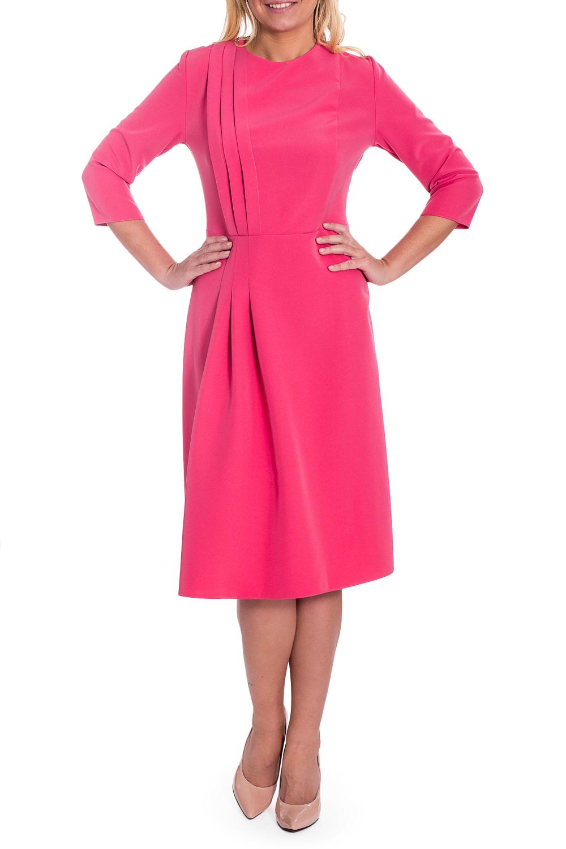 ПлатьеПлатья<br>Элегантное и женственное платье, которое подойдет любому типу фигуры, выполненное из приятного к телу материала.  Платье приталенного силуэта, отрезное по линии талии. На передней, правой части лифа широкие защипы, на юбке складки, частично застрочены. На спинке средний шов с молнией. Горловина обработана обтачкой. Рукав втачной, 3/4.  Цвет: розовый.  Длина рукава - 43 ± 1 см  Рост девушки-фотомодели 170 см  Длина изделия: 46 размер - 102 ± 2 см 48 размер - 102 ± 2 см 50 размер - 102 ± 2 см 52 размер - 102 ± 2 см 54 размер - 105 ± 2 см 56 размер - 105 ± 2 см 58 размер - 105 ± 2 см<br><br>Горловина: С- горловина<br>По длине: Ниже колена<br>По материалу: Тканевые<br>По образу: Город,Свидание<br>По рисунку: Однотонные<br>По силуэту: Полуприталенные,Приталенные<br>По стилю: Повседневный стиль,Романтический стиль<br>По форме: Платье - трапеция<br>По элементам: С декором,С молнией,Со складками<br>Рукав: Рукав три четверти<br>По сезону: Осень,Весна<br>Размер : 58<br>Материал: Плательная ткань<br>Количество в наличии: 1