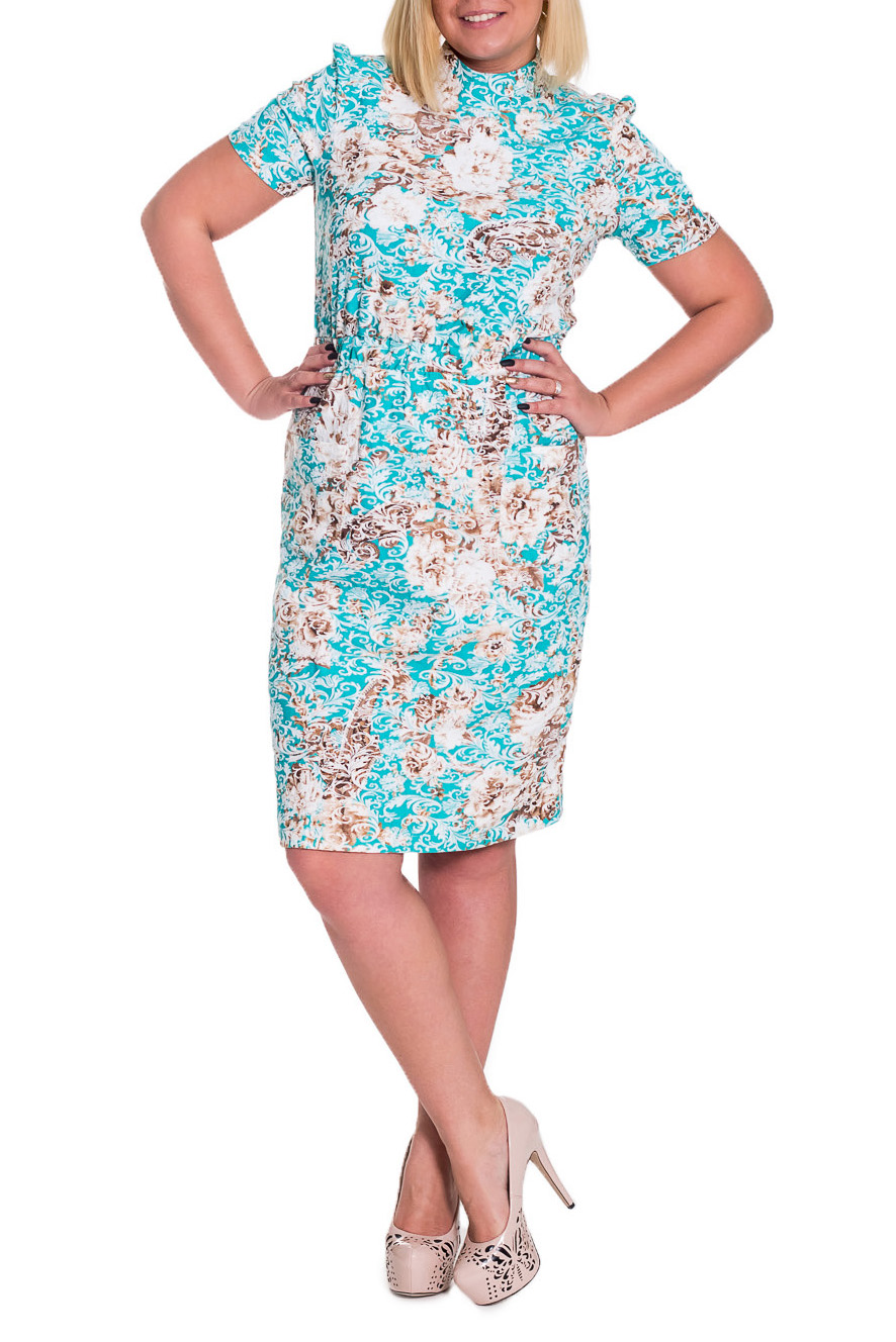 ПлатьеПлатья<br>Чудесное, женственное платье прямого силуэта с втачным поясом, собранным на резинку. На передней части юбки накладные карманы. На спинке средний шов с молнией и шлицей. Воротник стойка. Рукав втачной, короткий.  Цвет: бирюзовый, белый, бежевый.  Длина рукава - 22 ± 1 см  Рост девушки-фотомодели 170 см  Длина изделия - 102 ± 2 см<br><br>Воротник: Стойка<br>По длине: До колена<br>По материалу: Жаккард<br>По рисунку: Растительные мотивы,С принтом,Фактурный рисунок,Цветные,Цветочные<br>По сезону: Весна,Лето,Осень<br>По силуэту: Полуприталенные,Прямые<br>По стилю: Летний стиль,Повседневный стиль,Романтический стиль<br>По форме: Платье - футляр<br>По элементам: С воротником,С декором,С карманами,С молнией,С разрезом<br>Разрез: Шлица<br>Рукав: Короткий рукав<br>Размер : 48,50<br>Материал: Жаккард<br>Количество в наличии: 6