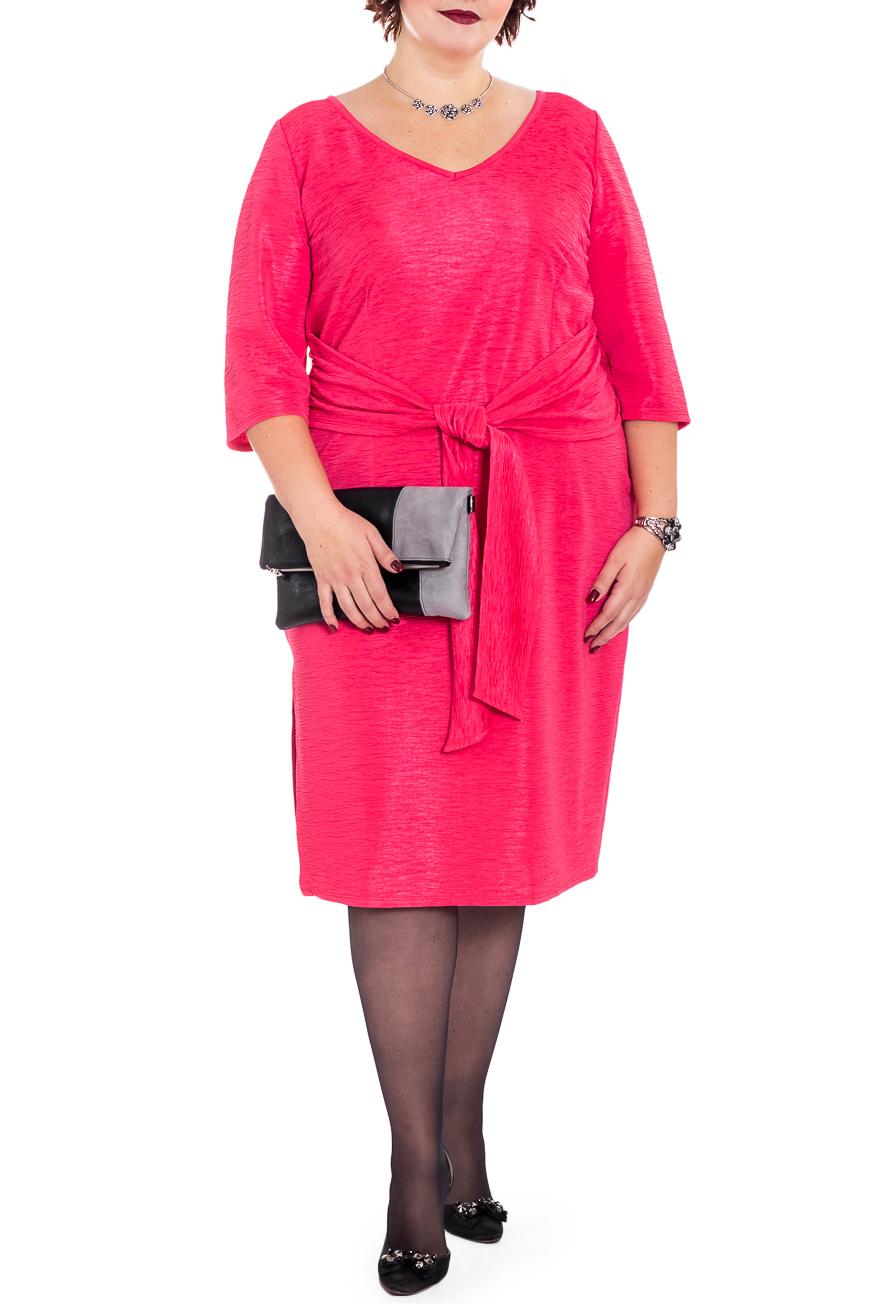 ПлатьеПлатья<br>Яркое платье приталенного кроя - это дивный вариант для настоящих леди. Выполнена модель из фактурного, жатого материала.  Платье приталенного силуэта с декоративным поясом, завязывающимся на передней части изделия. На спинке средний шов. Разрез в боковом шве. Горловина окантована. Рукав втачной, 3/4.  Цвет: ярко-коралловый.  Длина рукава - 42 ± 1 см  Рост девушки-фотомодели 176 см  Длина изделия:  56 размер - 108 ± 2 см 58 размер - 108 ± 2 см 60 размер - 108 ± 2 см 62 размер - 108 ± 2 см 64 размер - 110 ± 2 см 66 размер - 110 ± 2 см 68 размер - 110 ± 2 см<br><br>По длине: Ниже колена<br>По материалу: Трикотаж<br>По образу: Город,Свидание<br>По рисунку: Неоновые,Однотонные<br>По силуэту: Приталенные<br>По стилю: Повседневный стиль<br>По элементам: С разрезом<br>Разрез: Короткий<br>Рукав: Рукав три четверти<br>По сезону: Осень,Весна<br>Горловина: V- горловина<br>Размер : 58,60,66<br>Материал: Трикотаж<br>Количество в наличии: 9