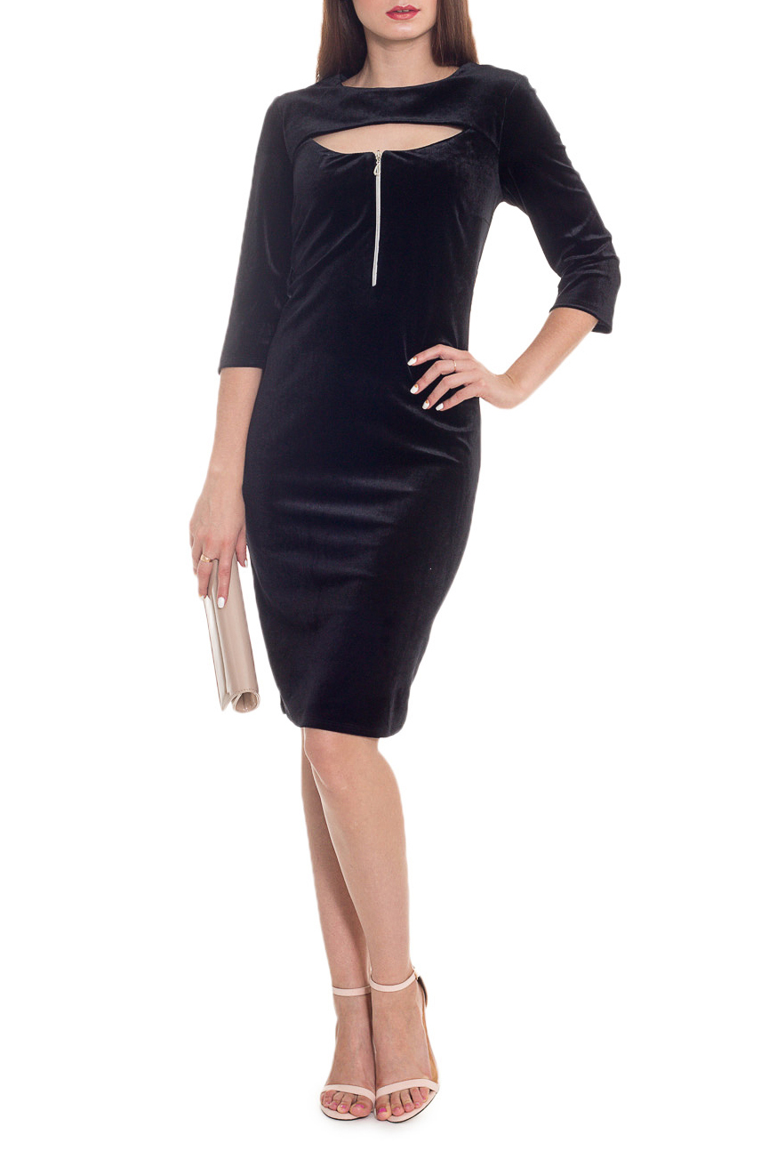ПлатьеПлатья<br>Шикарное женское платье с чувственным вырезом на груди станет изюминкой Вашего гардероба. Побалуйте себя этой великолепной покупкой!Платье приталенного силуэта. На передней части изделия кокетка и молния. На спинке средний шов. Горловина обработана подкладом. Рукав втачной, 3/4.Цвет: черный.Длина рукава - 43 ± 1 смРост девушки-фотомодели 173 смДлина изделия:46 размер - 98 ± 2 см48 размер - 98 ± 2 см50 размер - 98 ± 2 см52 размер - 98 ± 2 см54 размер - 102 ± 2 см56 размер - 102 ± 2 см58 размер - 102 ± 2 см<br><br>Горловина: С- горловина<br>Рукав: Рукав три четверти<br>Длина: До колена<br>Материал: Бархат<br>Стиль: Вечерний стиль,Молодежный стиль,Нарядный стиль,Ультрамодный стиль<br>Рисунок: Однотонные,Фактурный рисунок<br>Сезон: Весна,Всесезон,Зима,Лето,Осень<br>Силуэт: Полуприталенные,Приталенные<br>Форма: Платье - футляр<br>Элементы: С декором,С молнией,С отделочной фурнитурой<br>Размер : 48<br>Материал: Бархат<br>Количество в наличии: 1