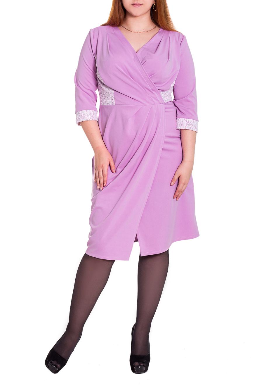 ПлатьеПлатья<br>Изысканное женственное платье приталенного силуэта, отрезное по линии талии. На передней части изделия запах, рельефы с гипюром и складки. На спинке средний шов и шлица. Рукав втачной, 3/4, с притачной манжетой с гипюром. Цвет: сиреневый.  Длина рукава - 43 ± 1 см  Рост девушки-фотомодели 180 см  Длина изделия - 103 ± 2 см<br><br>Горловина: V- горловина,Запах<br>По длине: Ниже колена<br>По материалу: Трикотаж<br>По рисунку: Однотонные<br>По сезону: Весна,Осень<br>По силуэту: Приталенные<br>По стилю: Повседневный стиль<br>По элементам: С вырезом,С декором,С манжетами,С разрезом,Со складками<br>Разрез: Шлица<br>Рукав: Рукав три четверти<br>По форме: Платье - трапеция<br>Размер : 48,50<br>Материал: Трикотаж + Гипюр<br>Количество в наличии: 6