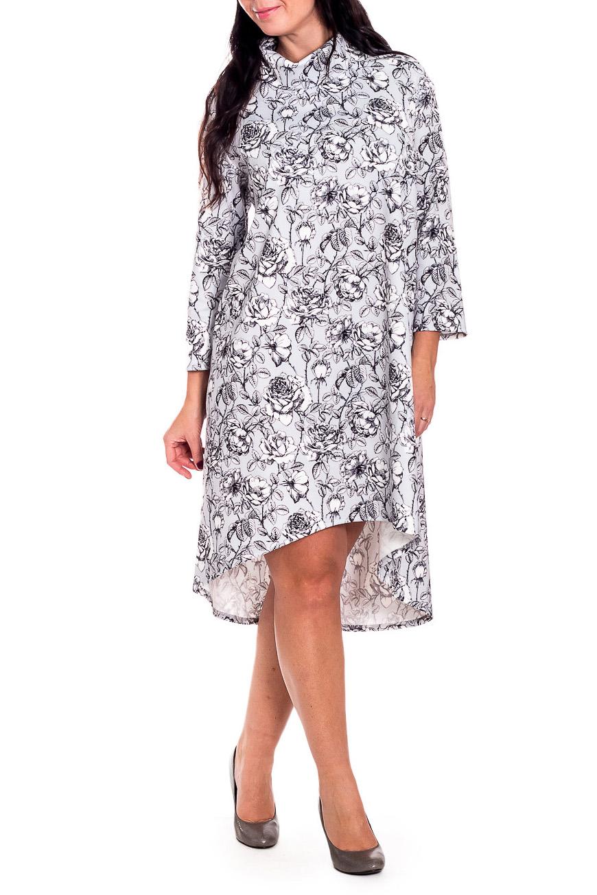 ПлатьеПлатья<br>Элегантное и женственное платье, которое подойдет любому типу фигуры, выполненное из приятного телу трикотажа.  Платье силуэта трапеция с асимметричным низом. На спинке средний шов. Воротник хомут. Рукав рубашечный, со спущенной линией плеча, 7/8.  В изделии использованы цвета: серый, белый и др.  Длина рукава (от конечной плечевой точки) - 48 ± 1 см  Рост девушки-фотомодели 170 см  Длина изделия: 46 размер - 108 ± 2 см 48 размер - 108 ± 2 см 50 размер - 108 ± 2 см 52 размер - 108 ± 2 см 54 размер - 111 ± 2 см 56 размер - 111 ± 2 см 58 размер - 111 ± 2 см<br><br>Воротник: Хомут<br>По длине: До колена,Ниже колена<br>По материалу: Трикотаж<br>По образу: Город,Свидание<br>По рисунку: Растительные мотивы,С принтом,Цветные,Цветочные<br>По силуэту: Свободные<br>По стилю: Повседневный стиль<br>По форме: Платье - трапеция<br>По элементам: С воротником,С фигурным низом<br>Рукав: Длинный рукав,Рукав три четверти<br>По сезону: Осень,Весна<br>Размер : 48,50,56<br>Материал: Трикотаж<br>Количество в наличии: 9