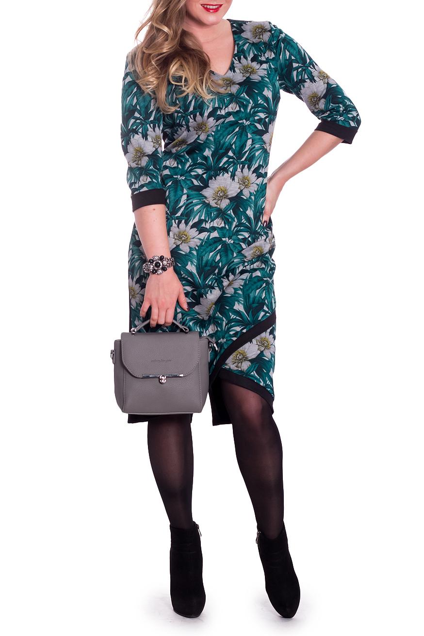 ПлатьеПлатья<br>Женственное платье с асимметричным низом станет изюминкой Вашего гардероба. Побалуйте себя этой великолепной покупкой  Платье приталенного силуэта. На передней части изделия имитация quot;запахаquot; с планками по низу. На спинке средний шов и шлица. Горловина обработана обтачкой. Рукав втачной, 3/4, с притачной манжетой.  В изделии используются цвета: бирюзово-зеленый, черный, серый и др.  Длина рукава - 42 ± 1 см  Рост девушки-фотомодели 170 см  Длина изделия: 46 размер - 105 ± 2 см 48 размер - 105 ± 2 см 50 размер - 105 ± 2 см 52 размер - 105 ± 2 см 54 размер - 108 ± 2 см 56 размер - 108 ± 2 см 58 размер - 108 ± 2 см<br><br>Горловина: V- горловина<br>По длине: До колена<br>По материалу: Трикотаж<br>По рисунку: Растительные мотивы,С принтом,Цветные,Цветочные<br>По силуэту: Приталенные<br>По стилю: Кэжуал,Повседневный стиль<br>По форме: Платье - футляр<br>По элементам: С вырезом,С декором,С манжетами,С разрезом,С фигурным низом,Со складками<br>Разрез: Шлица<br>Рукав: Рукав три четверти<br>По сезону: Осень,Весна<br>Размер : 48,50<br>Материал: Трикотаж<br>Количество в наличии: 5