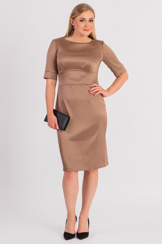 ПлатьеПлатья<br>Классика и элегантность - это залог успеха для создания Вашего повседневного образа. Дополните это стильное платье модными аксессуарами и завершите образ успешной женщины  Платье приталенного силуэта с втачным широким поясом под грудью. На передней части изделия складки на лифе и талиевые вытачки. На спинке средний шов с молнией и шлицей. Горловина обработана обтачкой. Рукав втачной, 3/4, с притачной манжетой и разрезом.  Цвет: золотистый песок.  Длина рукава - 30 ± 1 см  Рост девушки-фотомодели 170 см  Длина изделия: 46 размер - 101 ± 2 см 48 размер - 101 ± 2 см 50 размер - 101 ± 2 см 52 размер - 101 ± 2 см 54 размер - 104 ± 2 см 56 размер - 104 ± 2 см 58 размер - 104 ± 2 см<br><br>Горловина: Лодочка<br>По длине: Ниже колена<br>По материалу: Тканевые<br>По рисунку: Однотонные<br>По силуэту: Приталенные<br>По стилю: Классический стиль,Кэжуал,Офисный стиль,Повседневный стиль,Нарядный стиль<br>По форме: Платье - футляр<br>По элементам: С манжетами,С молнией,С разрезом<br>Разрез: Шлица<br>Рукав: До локтя<br>По сезону: Осень,Весна<br>Размер : 48,50,52,54,56,58<br>Материал: Плательная ткань<br>Количество в наличии: 32