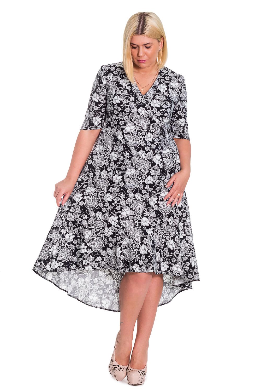 ПлатьеПлатья<br>Женственное платье с асимметричным низом станет изюминкой Вашего гардероба. Побалуйте себя этой великолепной покупкой   Платье силуэта трапеция с асимметричным низом и широким воланом. Молния в боковом шве. На передней части изделия фигурный рез под грудью. На спинке средний шов. Горловина обработана обтачкой. Рукав втачной, до локтя, с фигурным низом.  Цвет: на черном фоне белые цветы.  Длина рукава - 34 ± 1 см  Рост девушки-фотомодели 170 см  Длина изделия по спинке - 116 ± 2 см<br><br>Горловина: V- горловина<br>По длине: Ниже колена<br>По материалу: Тканевые,Хлопок<br>По образу: Город,Свидание<br>По рисунку: Растительные мотивы,С принтом,Цветные,Цветочные<br>По силуэту: Свободные<br>По стилю: Летний стиль,Повседневный стиль,Романтический стиль<br>По форме: Платье - трапеция<br>По элементам: С декором,С молнией,С фигурным низом,Со шлейфом<br>Рукав: До локтя<br>По сезону: Лето,Осень,Весна<br>Размер : 46,48,50,52,54,56,58<br>Материал: Плательно-блузочная ткань<br>Количество в наличии: 1