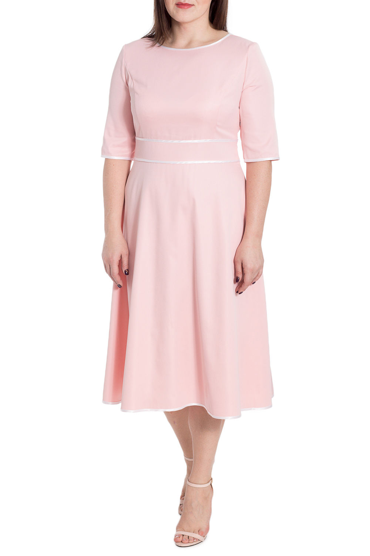 ПлатьеПлатья<br>Элегантное и женственное платье, которое подойдет любому типу фигуры, выполненное из приятного телу материала. Изделие станет идеальным вариантом повседневного или выходного наряда  Платье прилегающего силуэта с втачным поясом чуть выше линии талии. На спинке средний шов. Горловина, низ рукава, низ изделия и срезы пояса окантованы. Молния в боковом шве. Рукав втачной, до локтя.  Цвет: розовый.  Длина рукава - 35 ± 1 см  Рост девушки-фотомодели 172 см  Длина изделия - 107 ± 2 см<br><br>Горловина: С- горловина<br>По длине: Ниже колена<br>По материалу: Тканевые<br>По рисунку: Однотонные<br>По сезону: Весна,Зима,Лето,Осень,Всесезон<br>По силуэту: Полуприталенные,Приталенные<br>По стилю: Винтаж,Классический стиль,Повседневный стиль,Романтический стиль<br>По форме: Платье - трапеция<br>По элементам: С декором,С молнией<br>Рукав: До локтя<br>Размер : 50,52<br>Материал: Плательная ткань<br>Количество в наличии: 2