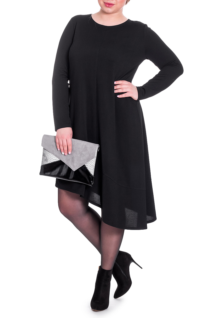 ПлатьеПлатья<br>Изысканное платье с асимметричным низом станет изюминкой Вашего гардероба. Побалуйте себя этой великолепной покупкой  Платье силуэта трапеция с асимметричным низом. На передней и задней частях изделия средний шов. По низу изделия планка. Горловина круглая. Рукав втачной, длинный.  Цвет: черный.  Длина рукава - 60 ± 1 см  Рост девушки-фотомодели 170 см  Длина изделия: 46 размер - 100 ± 2 см 48 размер - 100 ± 2 см 50 размер - 100 ± 2 см 52 размер - 100 ± 2 см 54 размер - 102 ± 2 см 56 размер - 102 ± 2 см 58 размер - 102 ± 2 см  При создании образа, который Вы видите на фотографии, также была использована стильная сумка арт. SMK8916. Для просмотра модели введите артикул в строке поиска.<br><br>Горловина: С- горловина<br>По длине: До колена<br>По материалу: Вискоза,Трикотаж<br>По образу: Город,Свидание<br>По рисунку: Однотонные<br>По сезону: Зима,Осень,Весна<br>По силуэту: Свободные<br>По стилю: Классический стиль,Кэжуал,Повседневный стиль<br>По форме: Платье - трапеция<br>По элементам: С фигурным низом<br>Рукав: Длинный рукав<br>Размер : 48,50<br>Материал: Трикотаж<br>Количество в наличии: 7