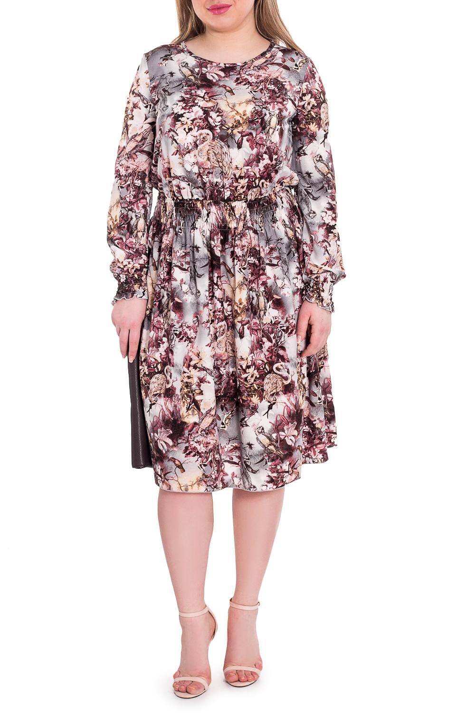 ПлатьеПлатья<br>Элегантное и женственное платье, которое подойдет любому типу фигуры, выполненное из струящегося материала.  Платье со сборкой по талии. На спинке средний шов. Горловина окантована. Рукав втачной, длинный, со сборкой по низу.  Длина рукава (от конечной плечевой точки) - 65 ± 1 см  Рост девушки-фотомодели 170 см  Длина изделия: 46 размер - 109 ± 2 см 48 размер - 109 ± 2 см 50 размер - 109 ± 2 см 52 размер - 109 ± 2 см 54 размер - 112 ± 2 см 56 размер - 112 ± 2 см 58 размер - 112 ± 2 см<br><br>Горловина: С- горловина<br>По длине: Ниже колена<br>По материалу: Тканевые<br>По рисунку: Растительные мотивы,С принтом,Цветные,Цветочные<br>По силуэту: Полуприталенные<br>По стилю: Повседневный стиль<br>По форме: Платье - трапеция<br>Рукав: Длинный рукав<br>По сезону: Осень,Весна<br>Размер : 50,52,54,56,58<br>Материал: Плательная ткань<br>Количество в наличии: 34