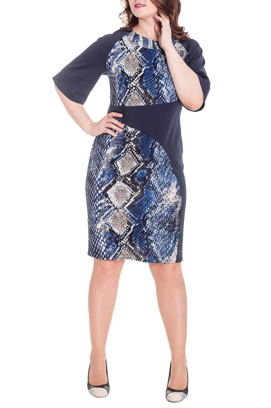 ПлатьеПлатья<br>Изысканное женское платье, которое разнообразит Ваш повседневный гардероб.  Платье полуприлегающего силуэта с асимметричными резами на передней части изделия. На спинке средний шов и шлица. Горловина обработана двойной обтачкой. Рукав реглан, 3/4, расширенный книзу.  Цвет: синий и др.  Длина рукава (от конечной плечевой точки) - 36 ± 1 см  Рост девушки-фотомодели 180 см  Длина изделия: 46 размер - 102 ± 2 см 48 размер - 102 ± 2 см 50 размер - 102 ± 2 см 52 размер - 102 ± 2 см 54 размер - 104 ± 2 см 56 размер - 104 ± 2 см 58 размер - 104 ± 2 см<br><br>Горловина: С- горловина<br>По длине: Ниже колена<br>По материалу: Трикотаж<br>По образу: Город,Свидание<br>По рисунку: Рептилия,С принтом,Цветные<br>По силуэту: Полуприталенные<br>По стилю: Повседневный стиль<br>По форме: Платье - футляр<br>По элементам: С декором,С разрезом<br>Разрез: Шлица<br>Рукав: Рукав три четверти<br>По сезону: Осень,Весна<br>Размер : 46,48,50,52,54,56,58<br>Материал: Трикотаж<br>Количество в наличии: 4