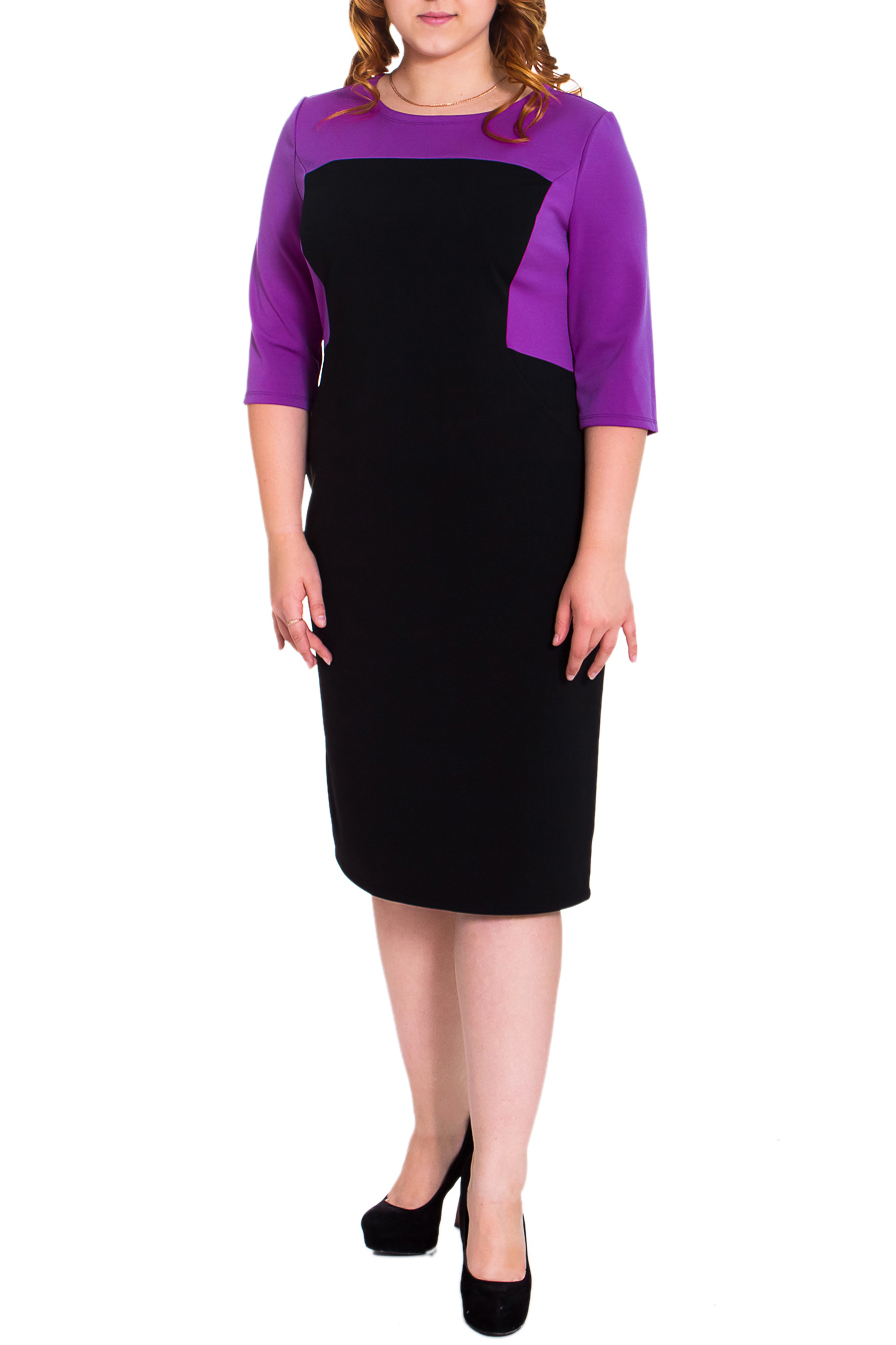ПлатьеПлатья<br>Классическое женское платье приталенного силуэта с фигурными рельефами и кокеткой на передней части изделия. На спинке рез по талии, средний шов и шлица. Рукав втачной, 3/4. Цвет: черный, фуксия.  Длина рукава - 40 ± 1 см  Рост девушки-фотомодели 169 см  Длина изделия: 46 размер - 104 ± 2 см 48 размер - 104 ± 2 см 50 размер - 104 ± 2 см 52 размер - 104 ± 2 см 54 размер - 106 ± 2 см 56 размер - 106 ± 2 см 58 размер - 106 ± 2 см<br><br>Горловина: С- горловина<br>По длине: Ниже колена<br>По материалу: Трикотаж<br>По образу: Город,Офис,Свидание<br>По сезону: Весна,Осень<br>По силуэту: Приталенные<br>По стилю: Классический стиль,Офисный стиль,Повседневный стиль<br>По форме: Платье - футляр<br>По элементам: С декором,С завышенной талией,С разрезом<br>Разрез: Шлица<br>Рукав: Рукав три четверти<br>По рисунку: Цветные<br>Размер : 48<br>Материал: Трикотаж<br>Количество в наличии: 3