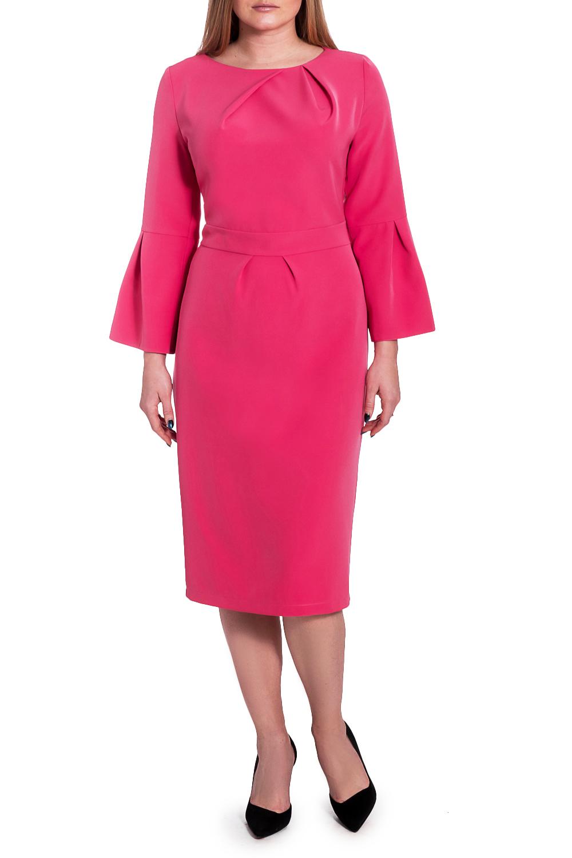 ПлатьеПлатья<br>Ищите способ обратить на себя внимание Это прелестное платье в романтичном стиле привлечет восторженные взгляды  Платье приталенного силуэта с втачным поясом по талии. На передней части лифа асимметричные складки от горловины, на юбке складки. На спинке талиевые вытачки, средний шов с молнией и шлицей. Горловина обработана обтачкой. Рукав втачной, 7/8, с широким воланом по низу.  Цвет: насыщенный розовый.  Длина рукава - 51 ± 1 см  Рост девушки-фотомодели 170 см  Длина изделия - 106 ± 2 см<br><br>Горловина: Лодочка,С- горловина<br>По длине: Ниже колена<br>По материалу: Тканевые<br>По рисунку: Однотонные<br>По сезону: Зима,Осень,Весна<br>По силуэту: Приталенные<br>По стилю: Нарядный стиль,Романтический стиль<br>По форме: Платье - футляр<br>По элементам: С декором,С манжетами,С молнией,С разрезом,Со складками<br>Разрез: Шлица<br>Рукав: Рукав три четверти<br>Размер : 52<br>Материал: Плательная ткань<br>Количество в наличии: 1